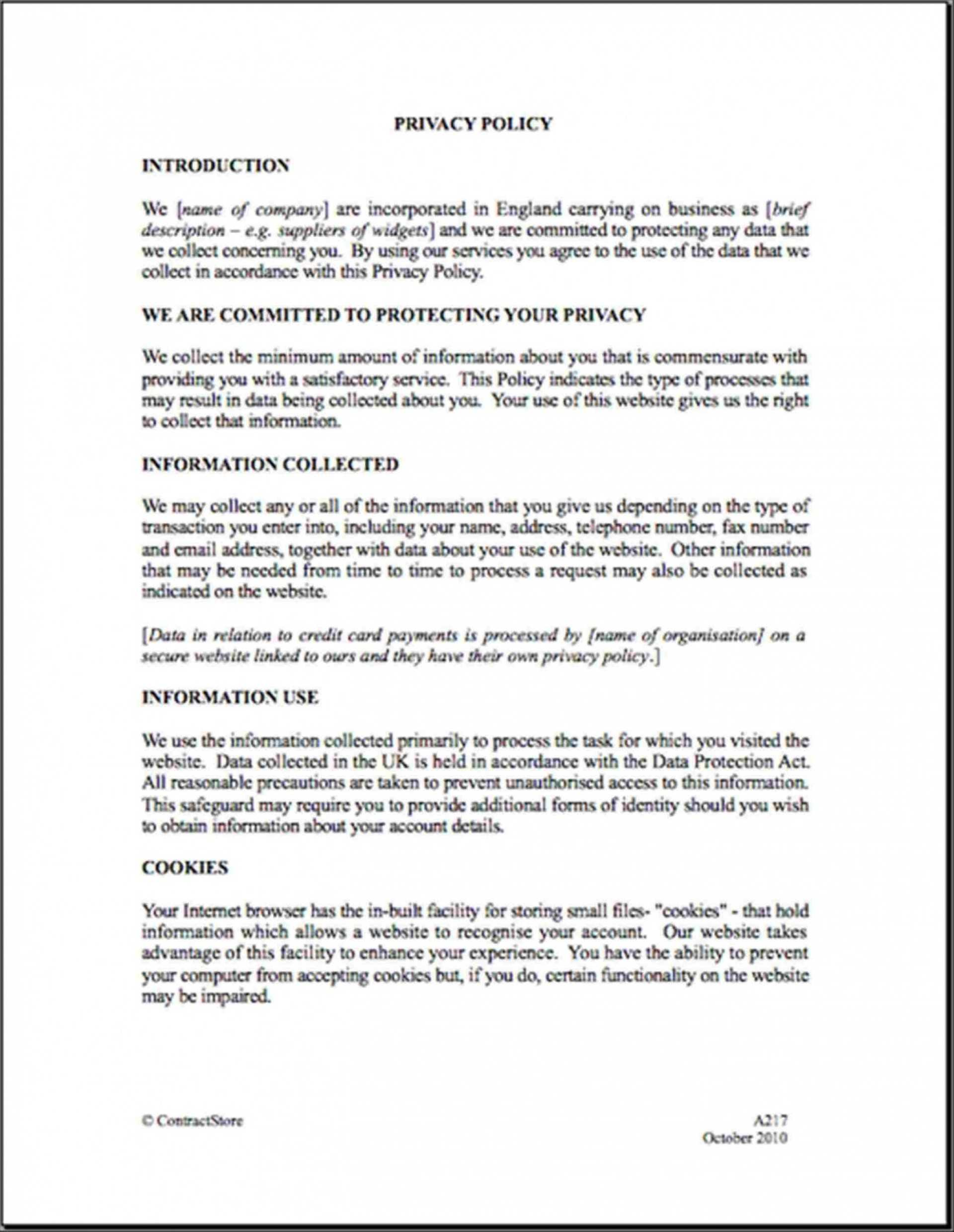 001 Company Privacy Policy Template Uk Ideas Intended For Credit Card Privacy Policy Template