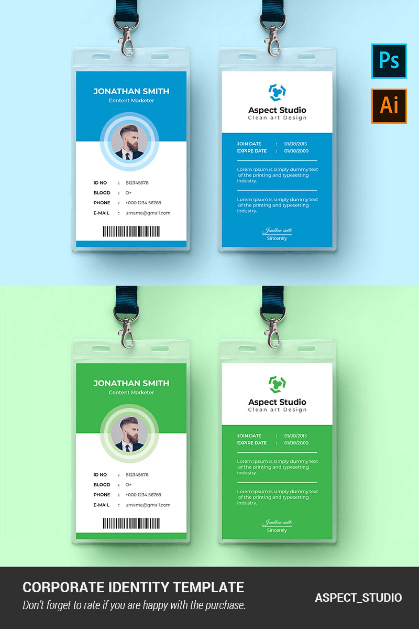 001 Employee Id Card Template Ai Free Download Ideas Blue In Id Card Template Ai