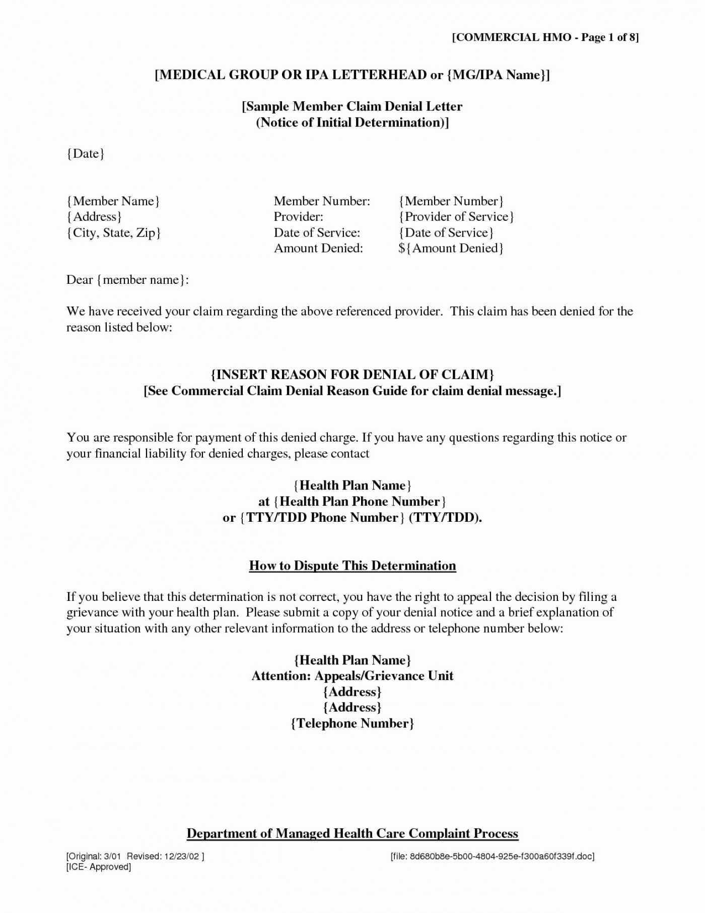 001 Insurance Denial Letter Template Excellent Ideas Appeal Inside Ppi Claim Letter Template For Credit Card
