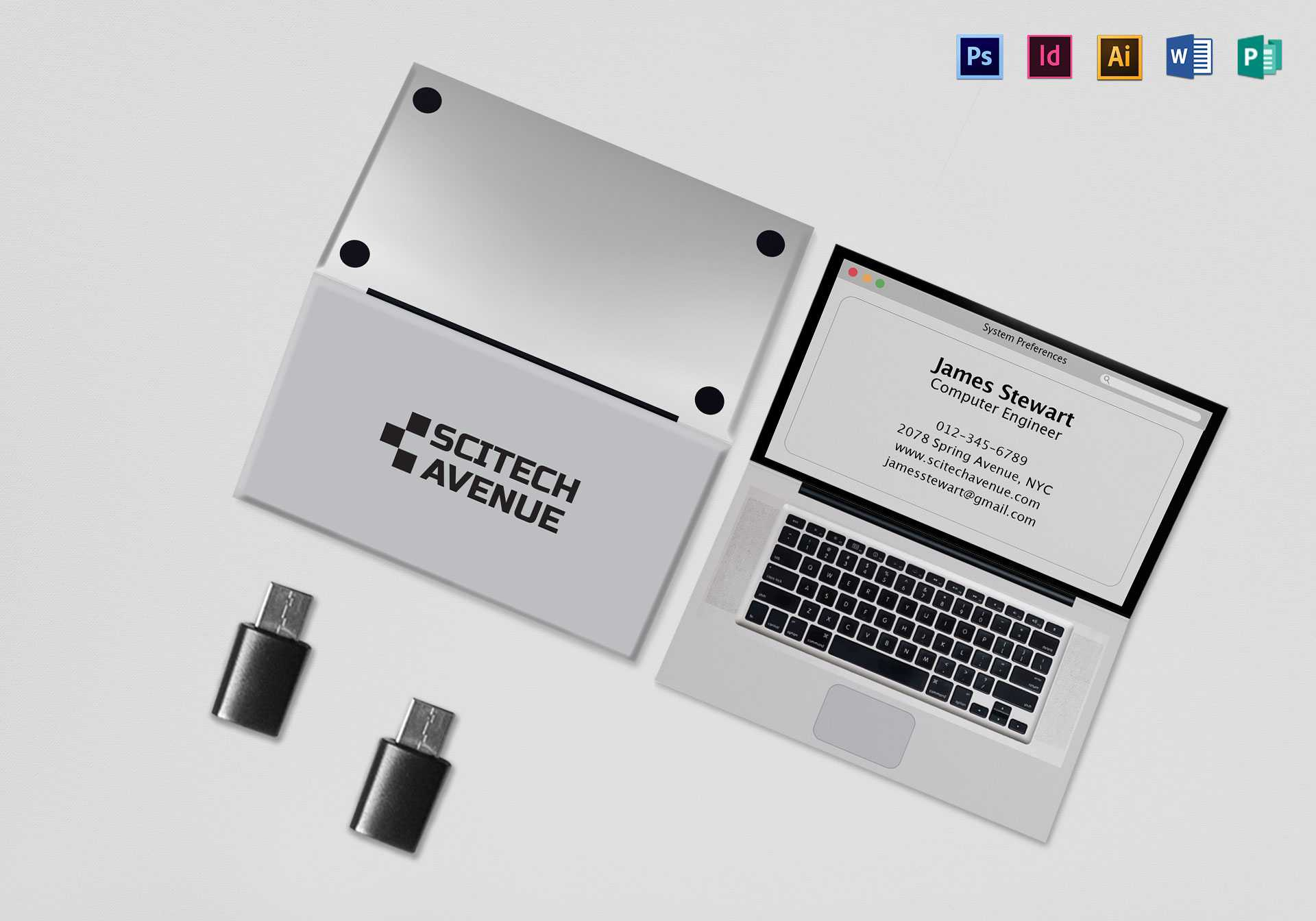 001 Laptop Folded Business Card Mock Up Template Astounding For Fold Over Business Card Template