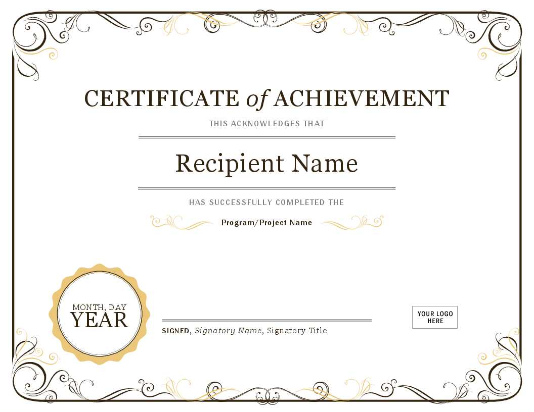 001 Word Certificate Template Download Of Achievement Image Pertaining To Word Certificate Of Achievement Template