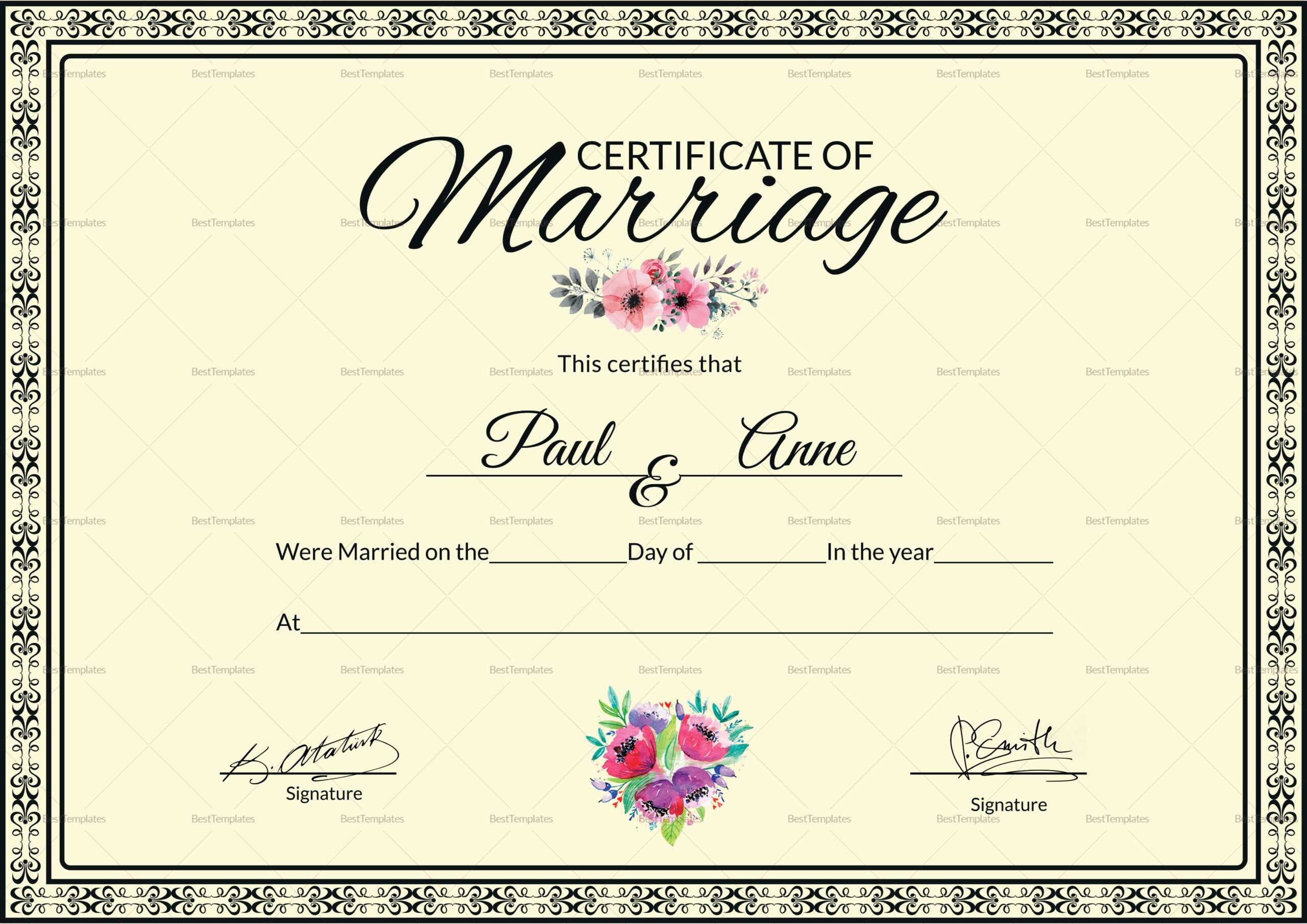 002 Template Ideas Certificate Of Marriage Beautiful Within Certificate Of Marriage Template