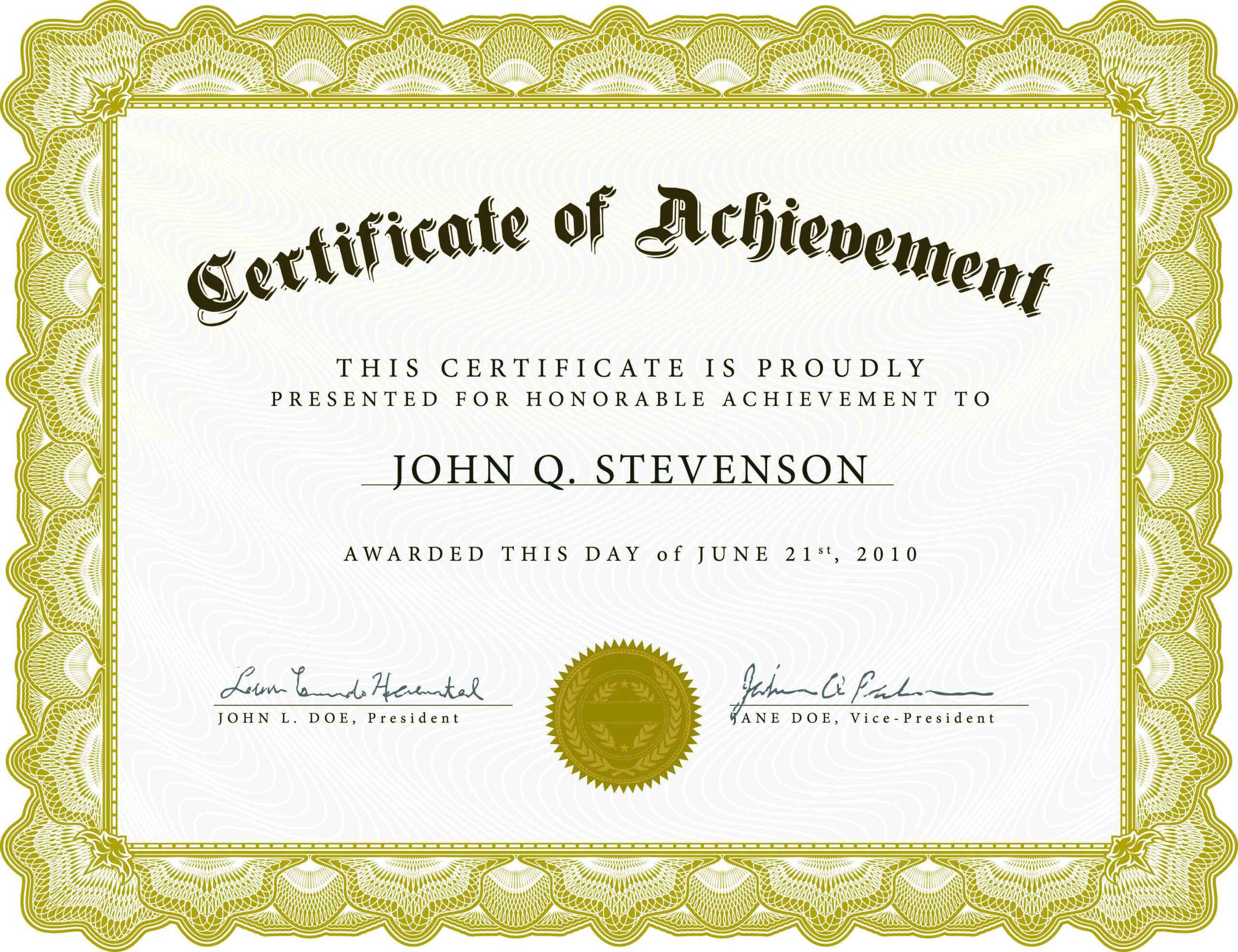 002 Word Certificate Of Achievement Template Outstanding With Army Certificate Of Achievement Template