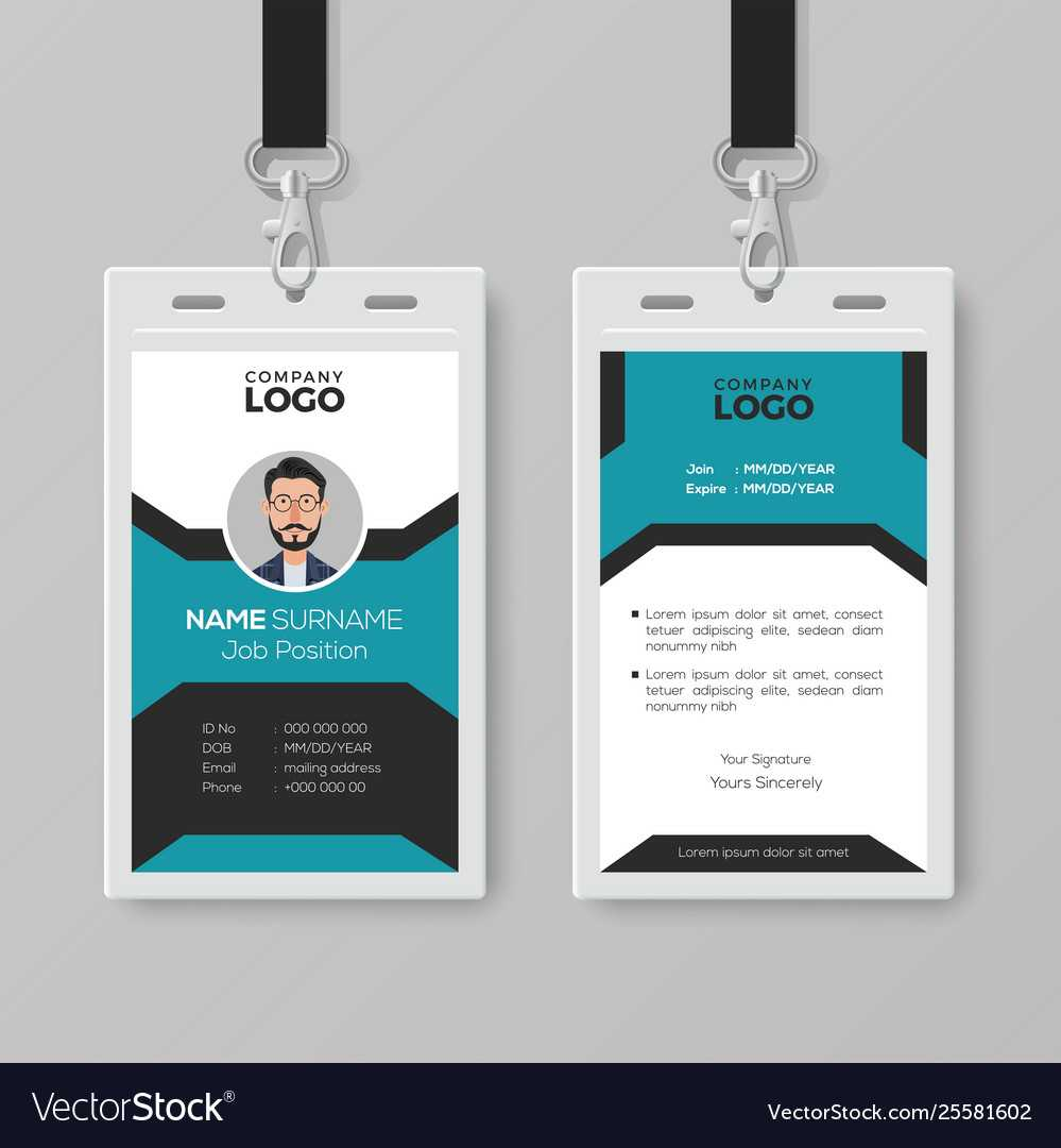 003 Creative Employee Id Card Template Vector Badge Best Within Portrait Id Card Template