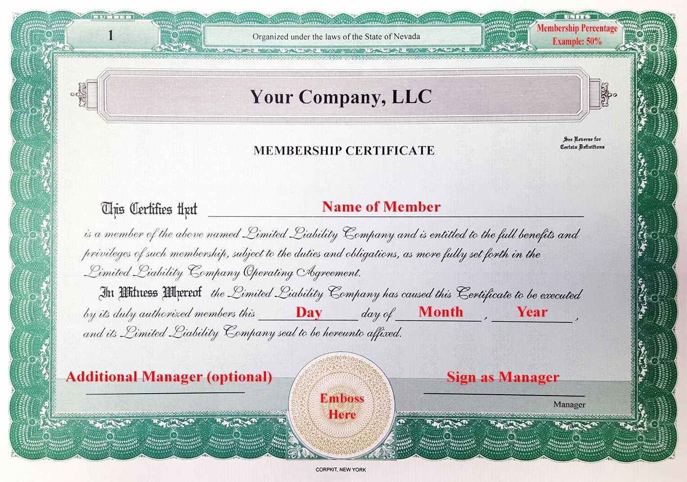 004 Llcship Certificate Template Best Of Laughlin Associates Pertaining To Llc Membership Certificate Template Word