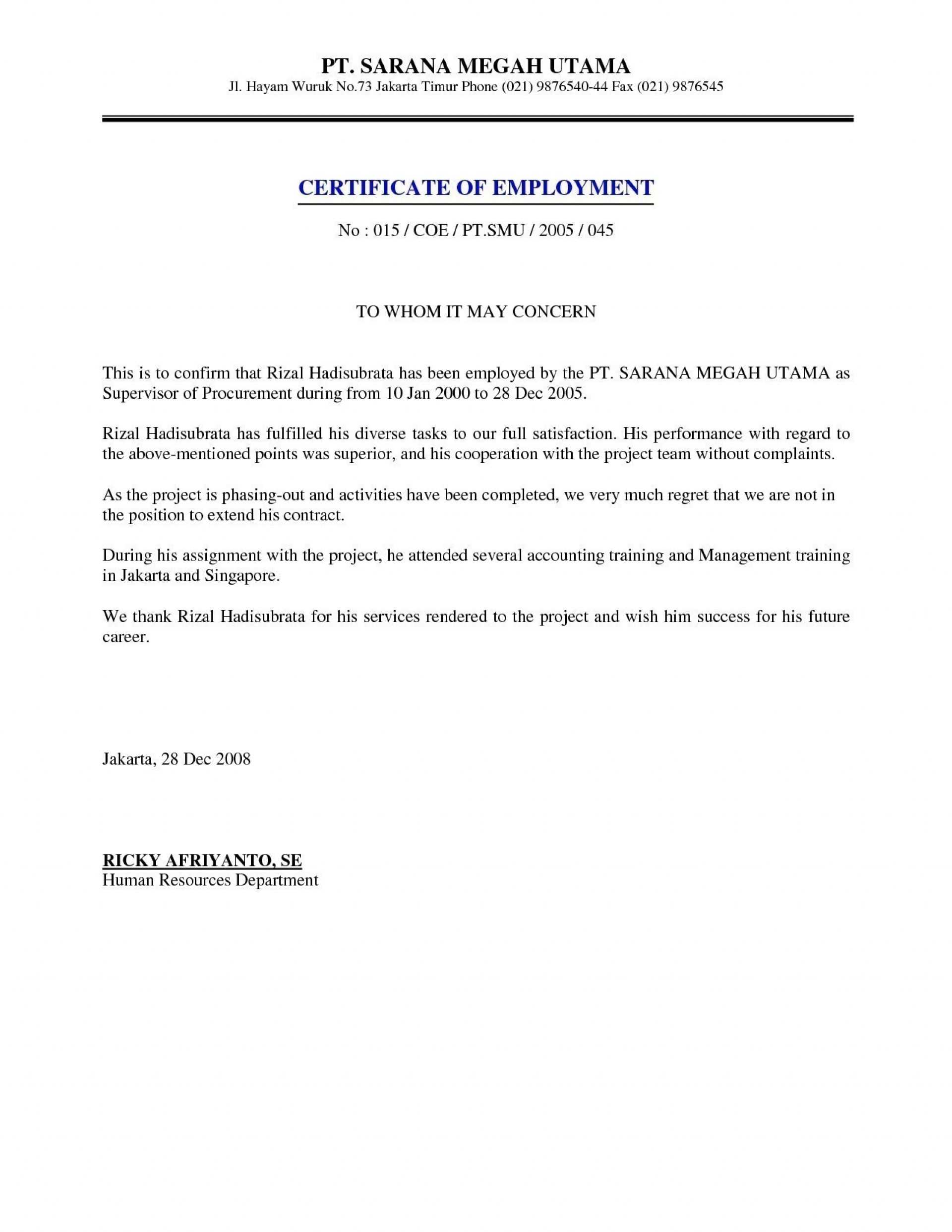 004 Refrence Sample Certificate Employment With Salary In Sample Certificate Employment Template