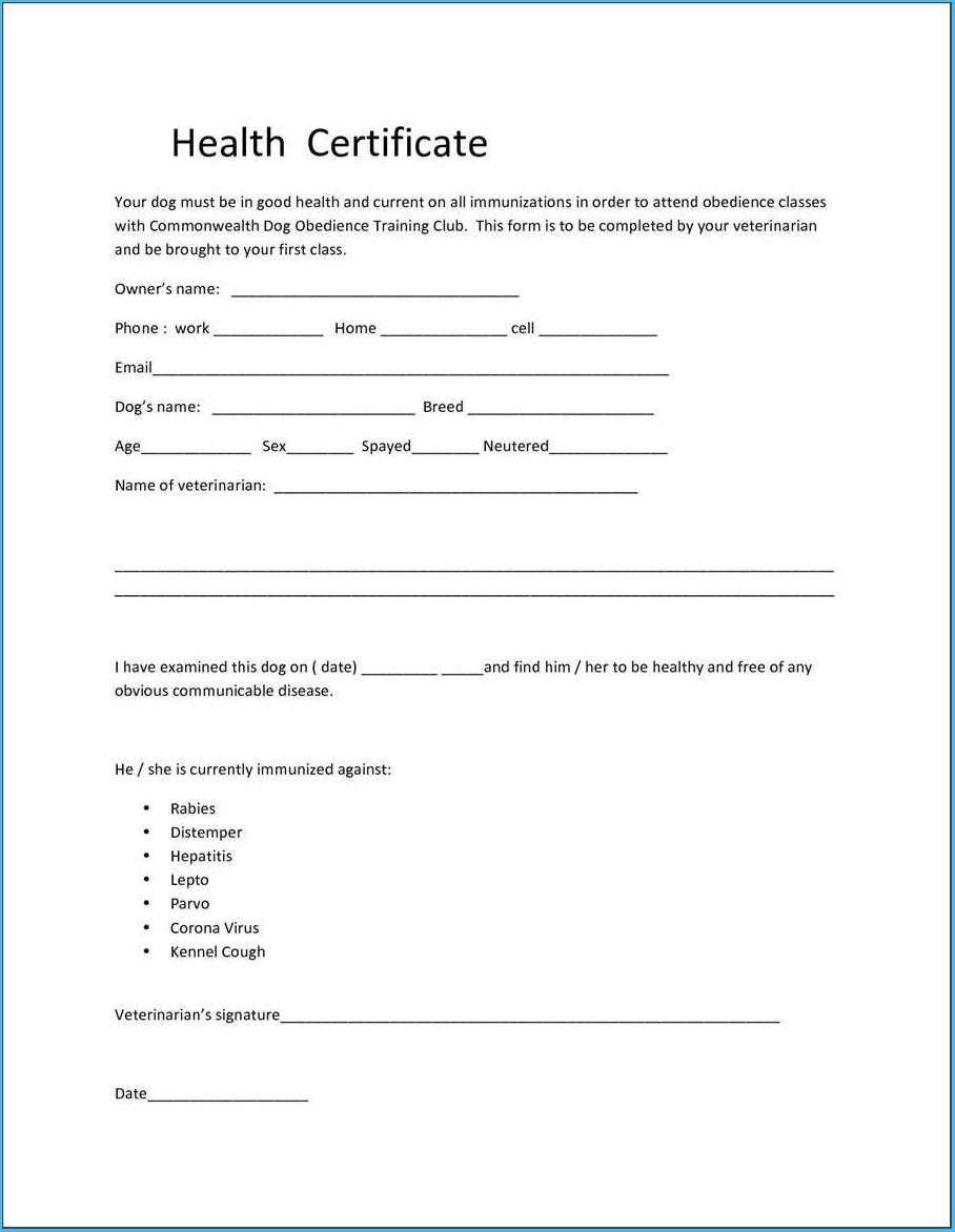 005 Pet Health Certificate Template Mesmerizing As An Extra In Veterinary Health Certificate Template