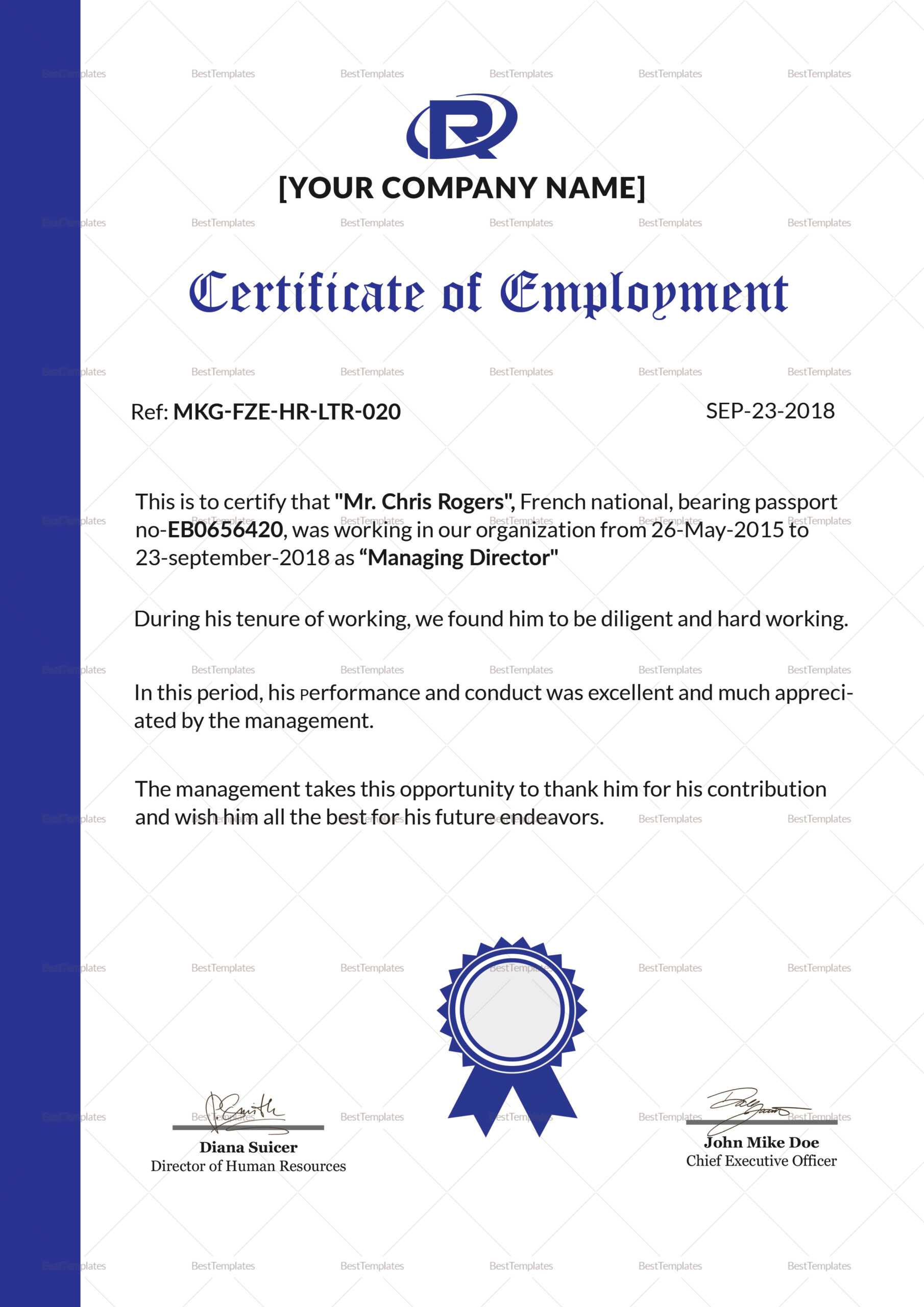 006 Certificate Of Employment Template Sample Impressive For Sample Certificate Employment Template