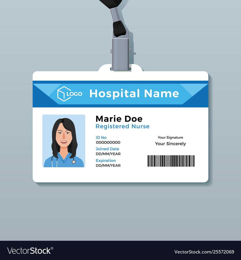 006 Nurse Id Card Medical Identity Badge Template Vector With Hospital Id Card Template