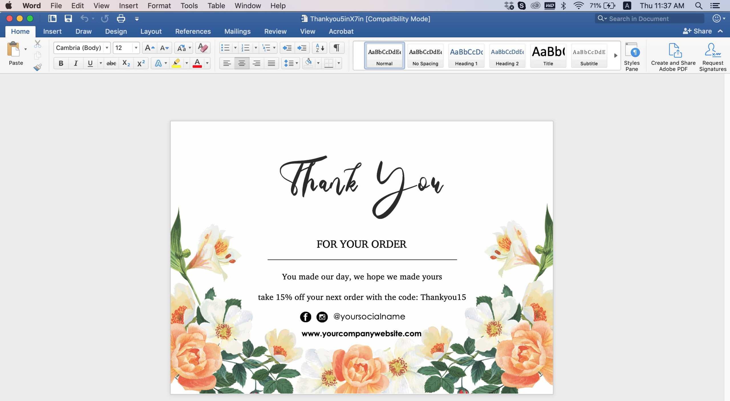 009 Editable Thank You Post Card Template Word Top Ideas In Thank You Card Template Word