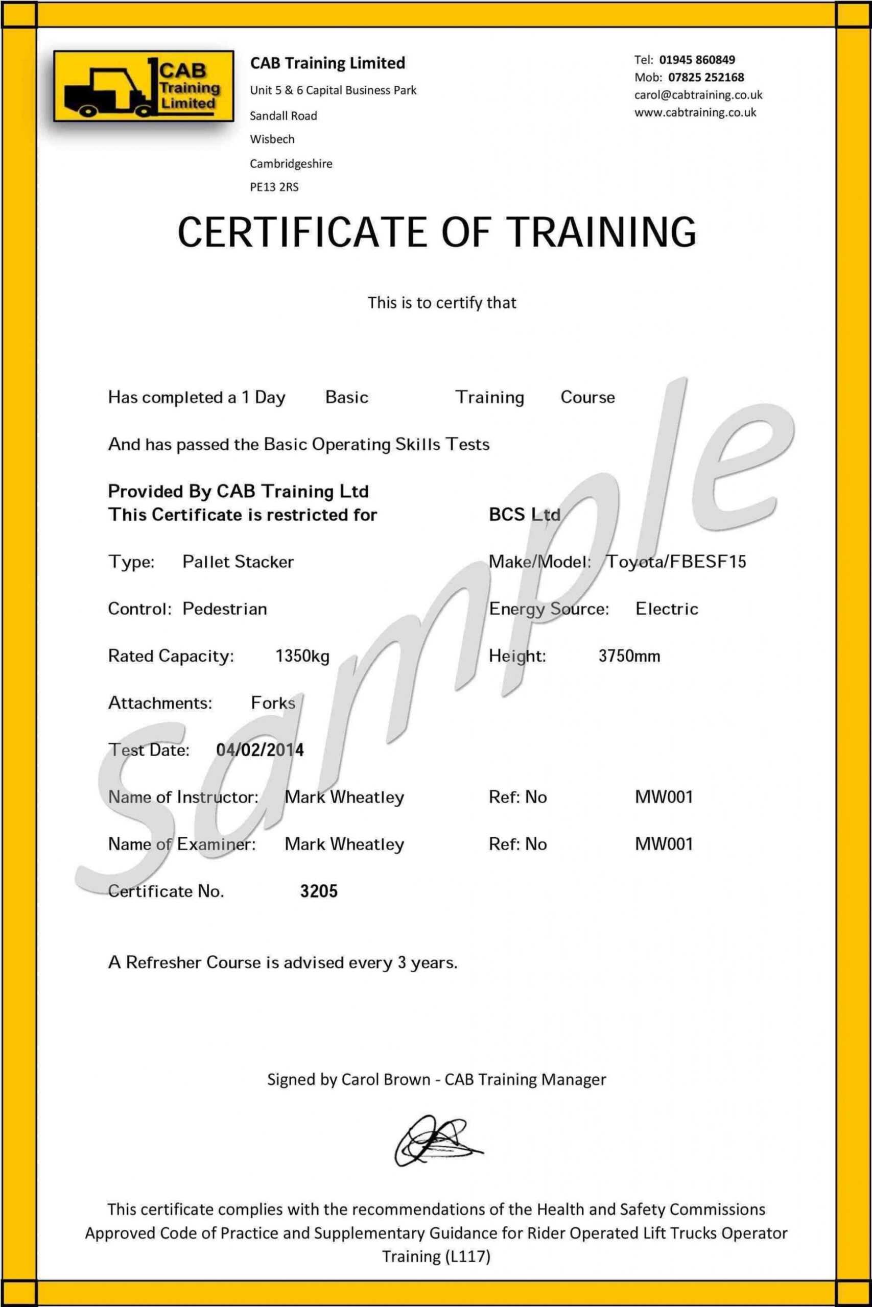 009 Forklift Certification Card Template Free Original Throughout Forklift Certification Card Template