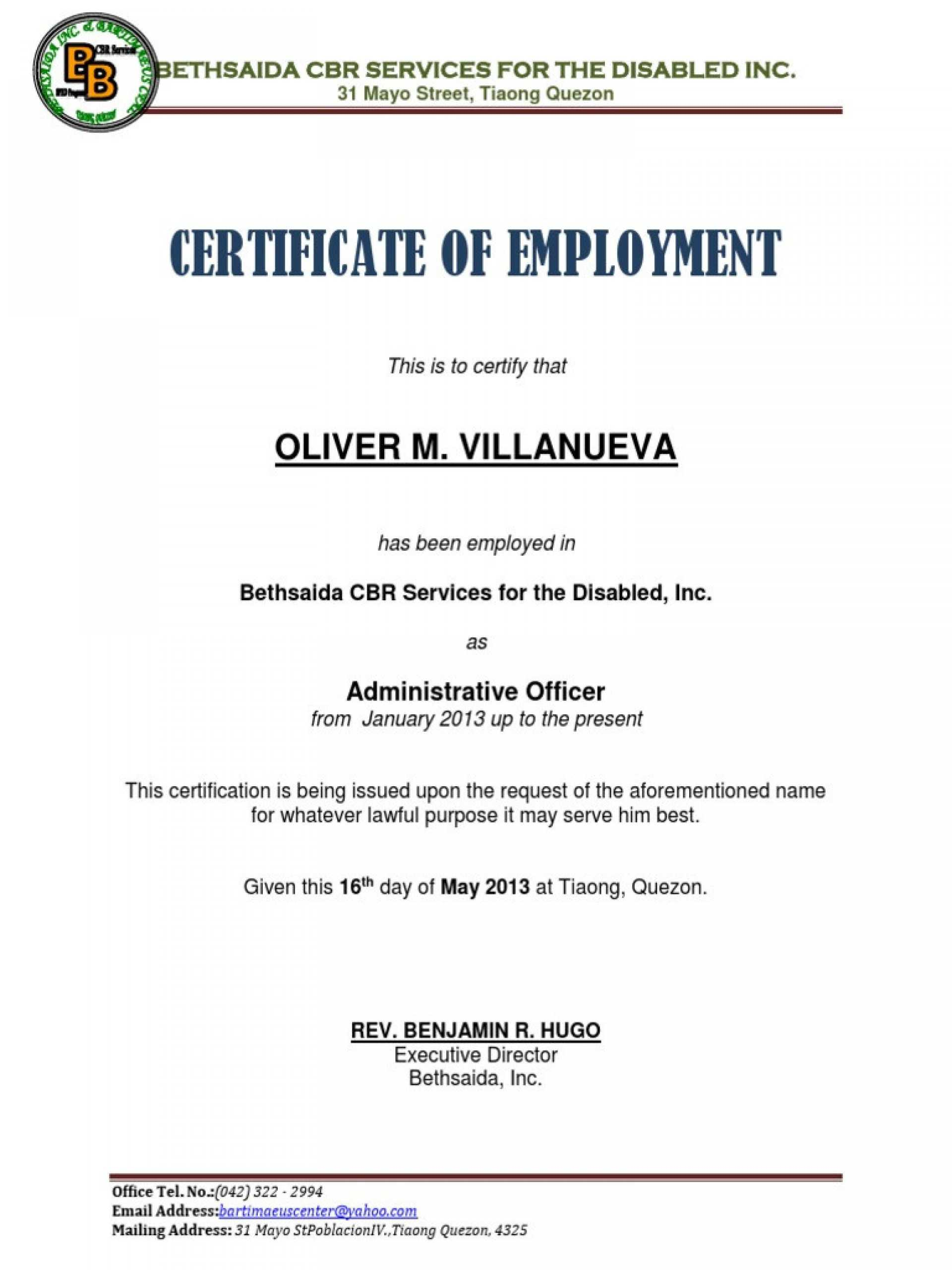 009 Template Ideas Certificate Of Employment Impressive Free For Template Of Certificate Of Employment