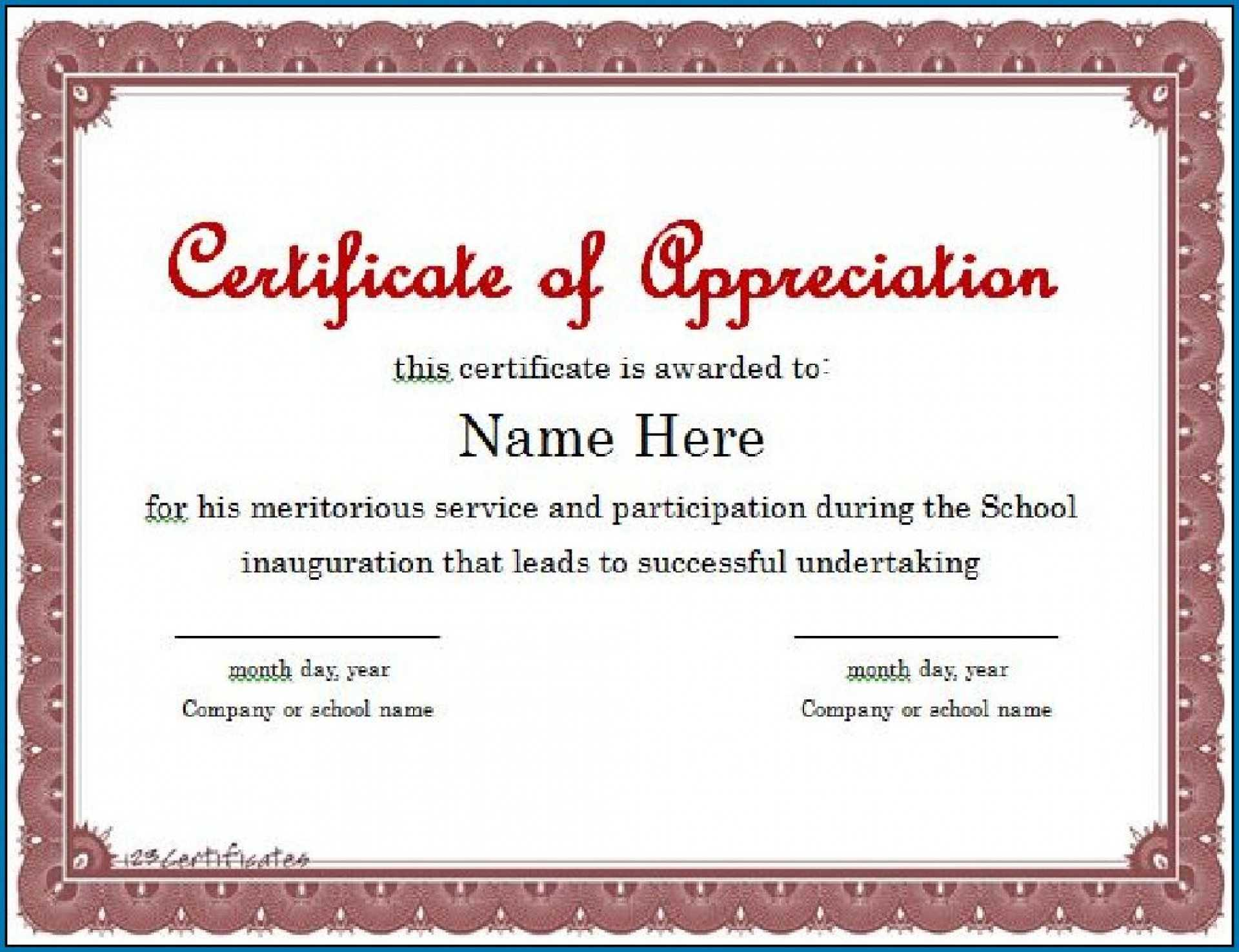 011 Template Ideas Microsoft Word Certificate Of For Template For Certificate Of Appreciation In Microsoft Word