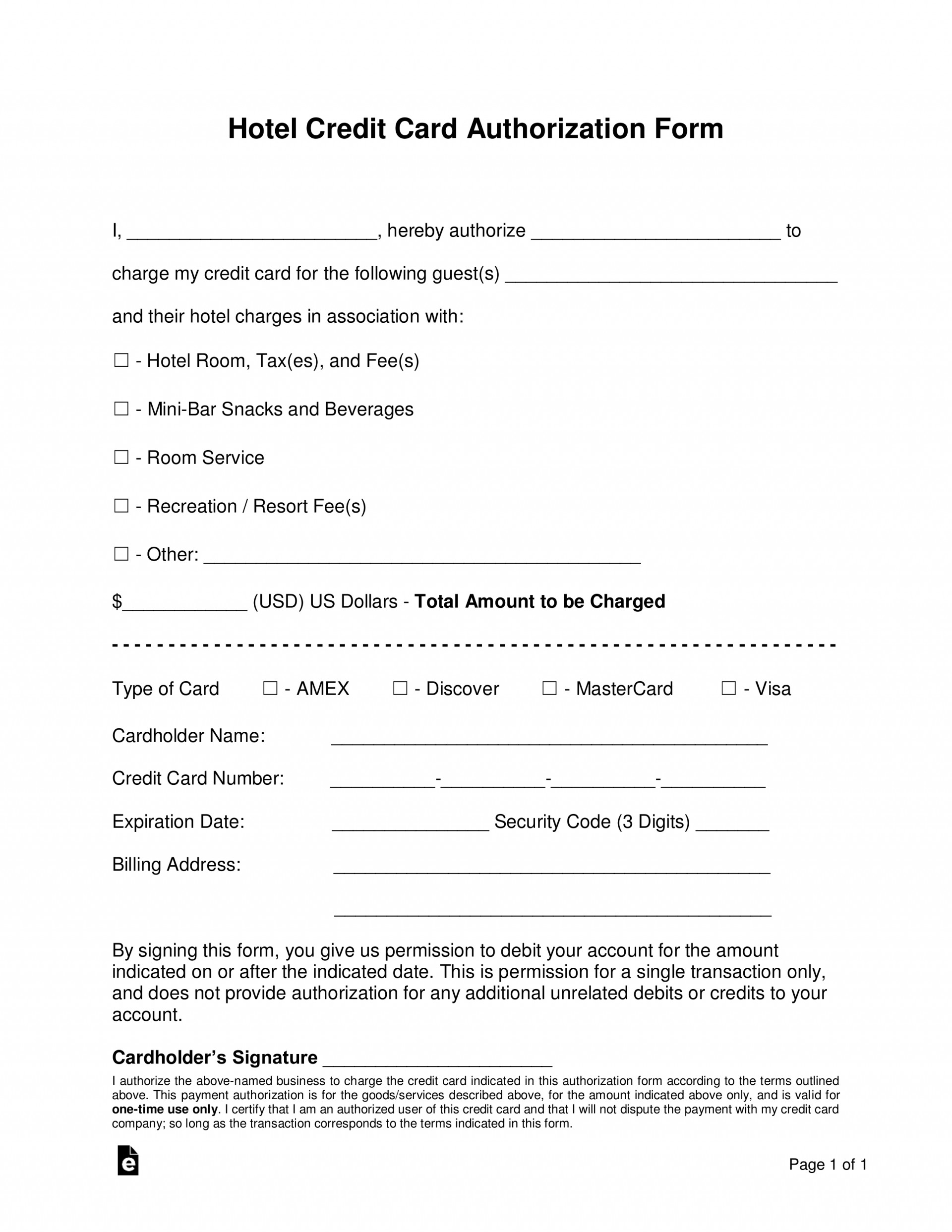 013 Credit Card Authorization Form Template Doc Hotel Within Hotel Credit Card Authorization Form Template