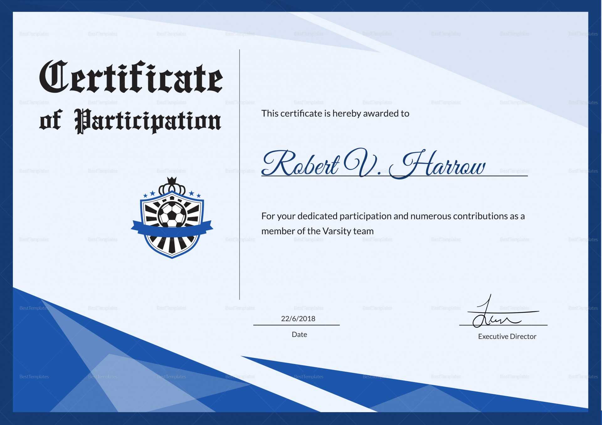 013 Sports Award Certificate Template Word Soccer With Regard To Sports Award Certificate Template Word