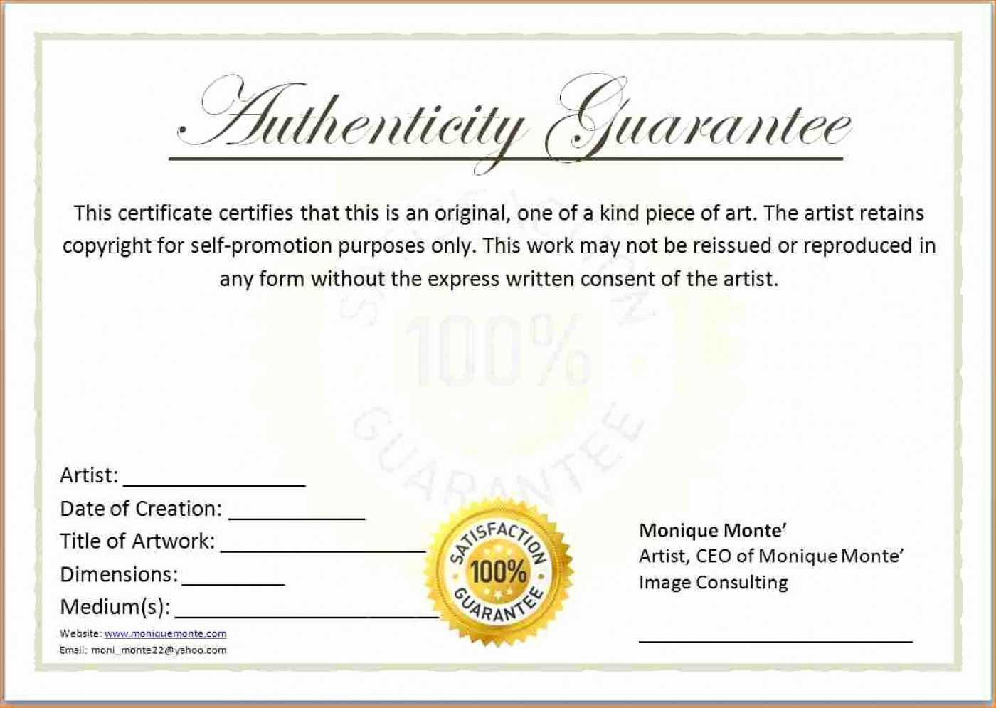 015 Certificate Of Authenticity Template Free Unique Ideas In Certificate Of Authenticity Template