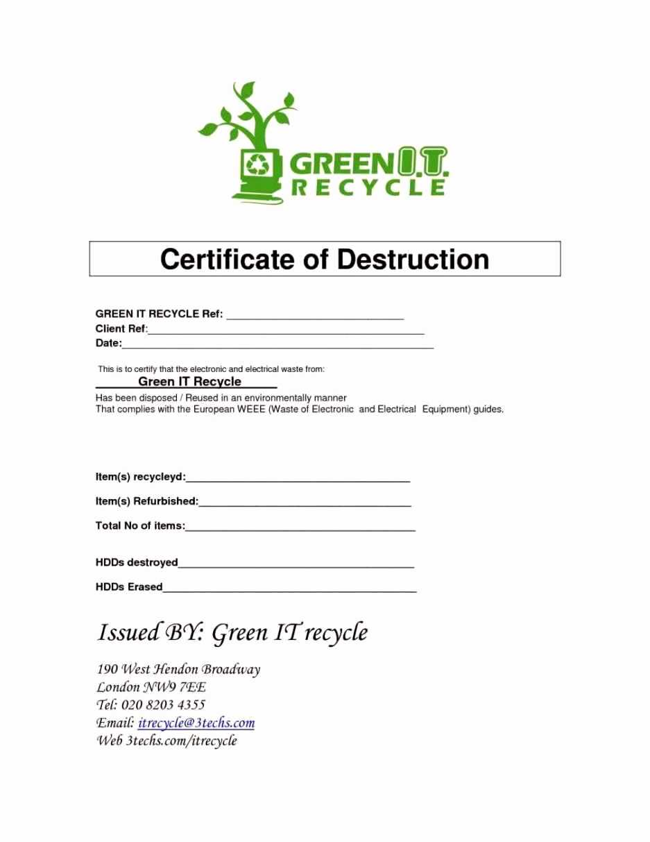 016 Certificate Of Destruction Template Ideas Bunch For Intended For Hard Drive Destruction Certificate Template