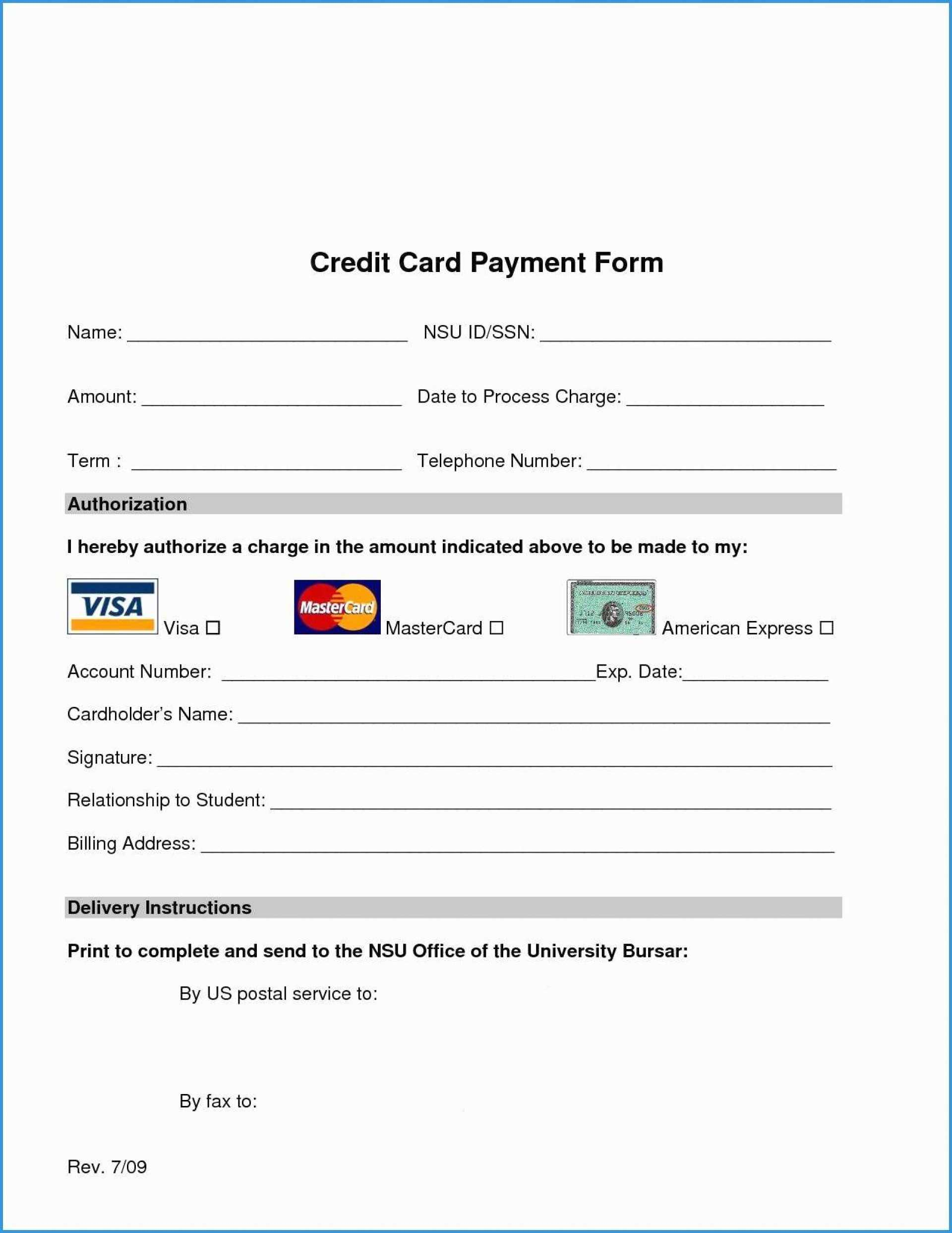 018 Free Credit Card Authorization Form Template Word Luxury Pertaining To Credit Card Authorization Form Template Word