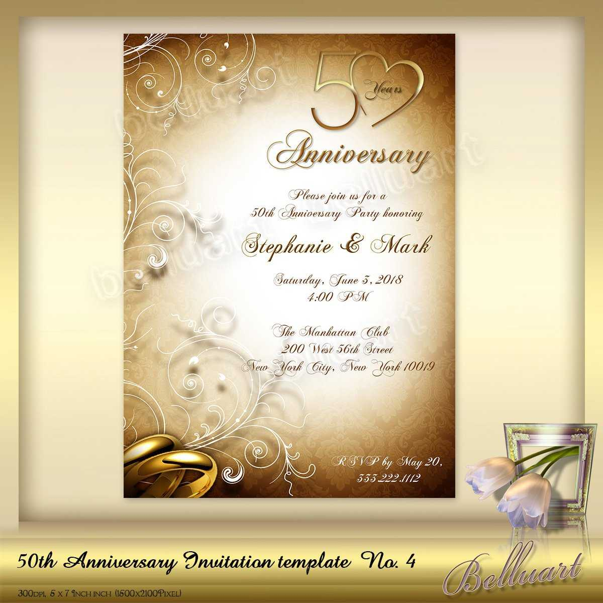 023 50Th Wedding Anniversary Invitations Templates In Anniversary Card Template Word