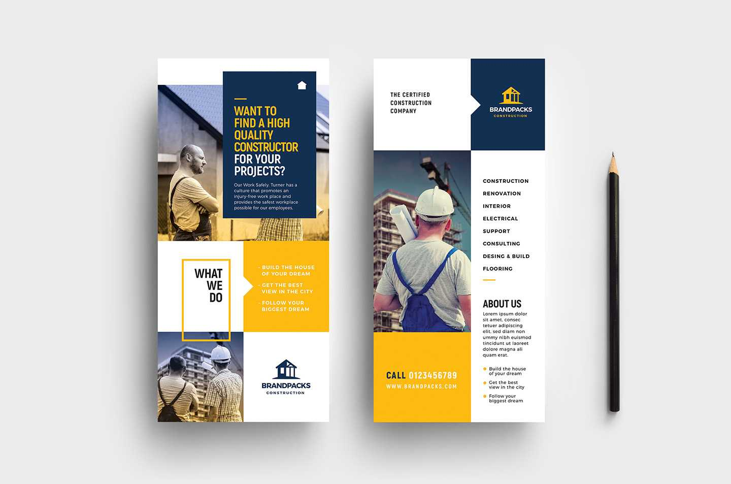 023 Construction Business Card Template Psd Ideas Company Dl Within Dl Card Template