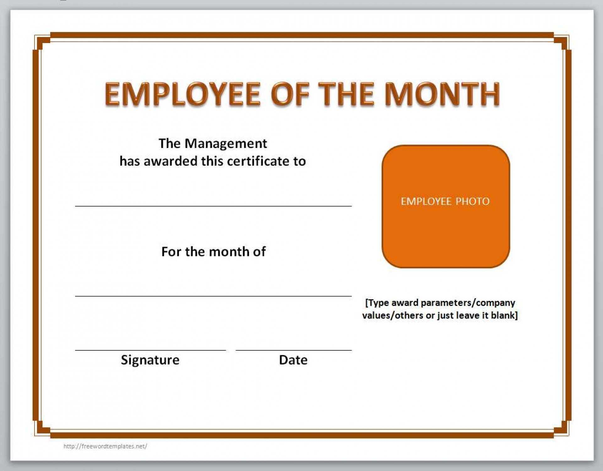 023 Employee Of The Month Certificate Template Microsoft Inside Employee Of The Month Certificate Templates