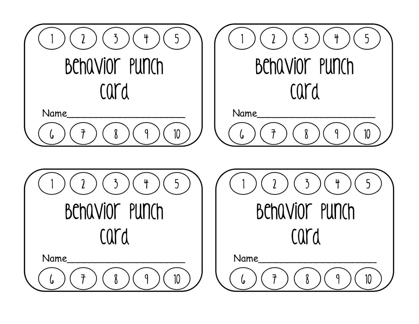 023 Template Ideas Behavior Punch Cards Pinterest Card In Free Printable Punch Card Template