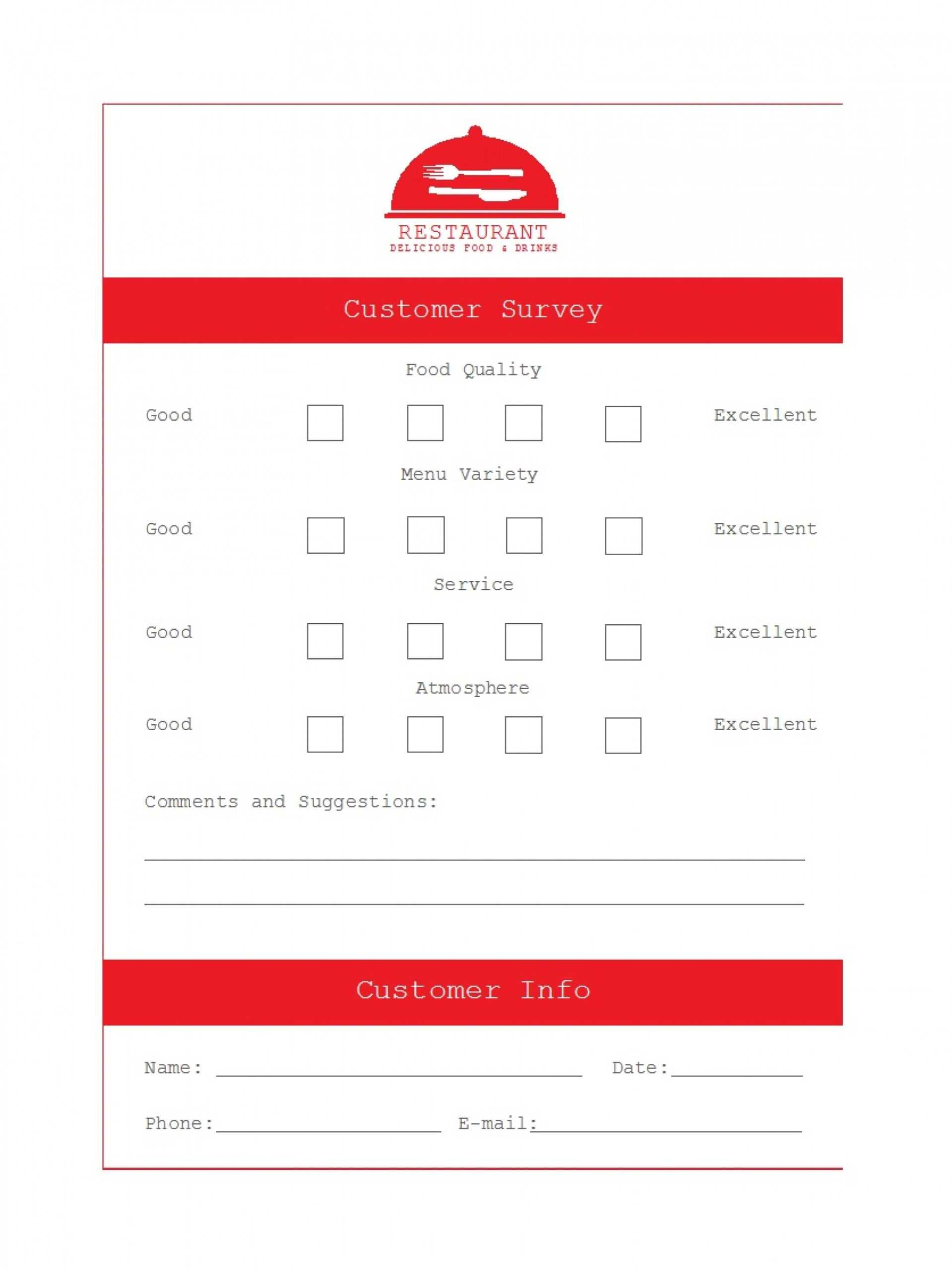 024 Restaurant Comment Card Template Latest Ment Frightening Inside Restaurant Comment Card Template