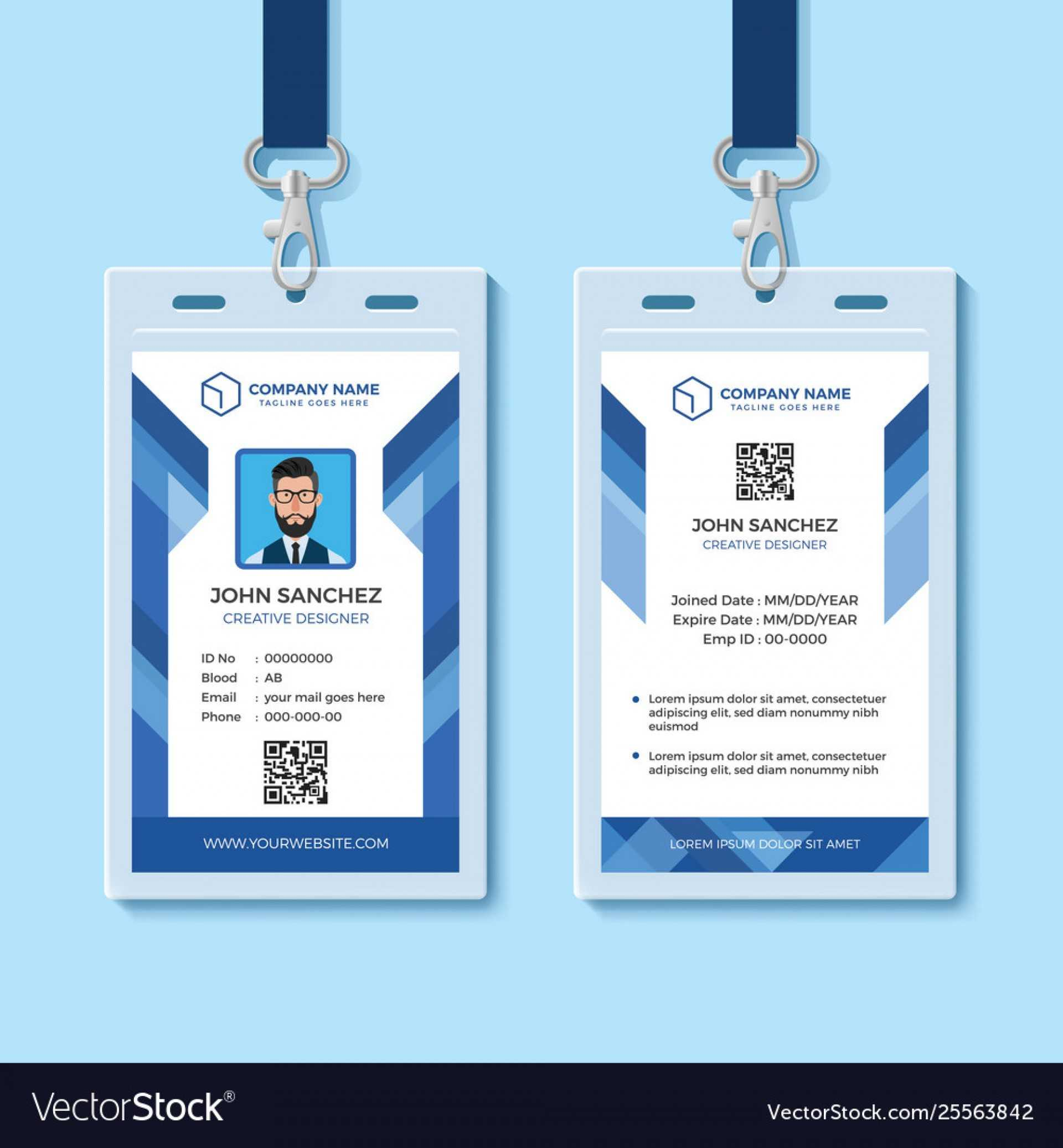 025 Template Ideas Employee Id Card Templates Blue Design With Employee Card Template Word