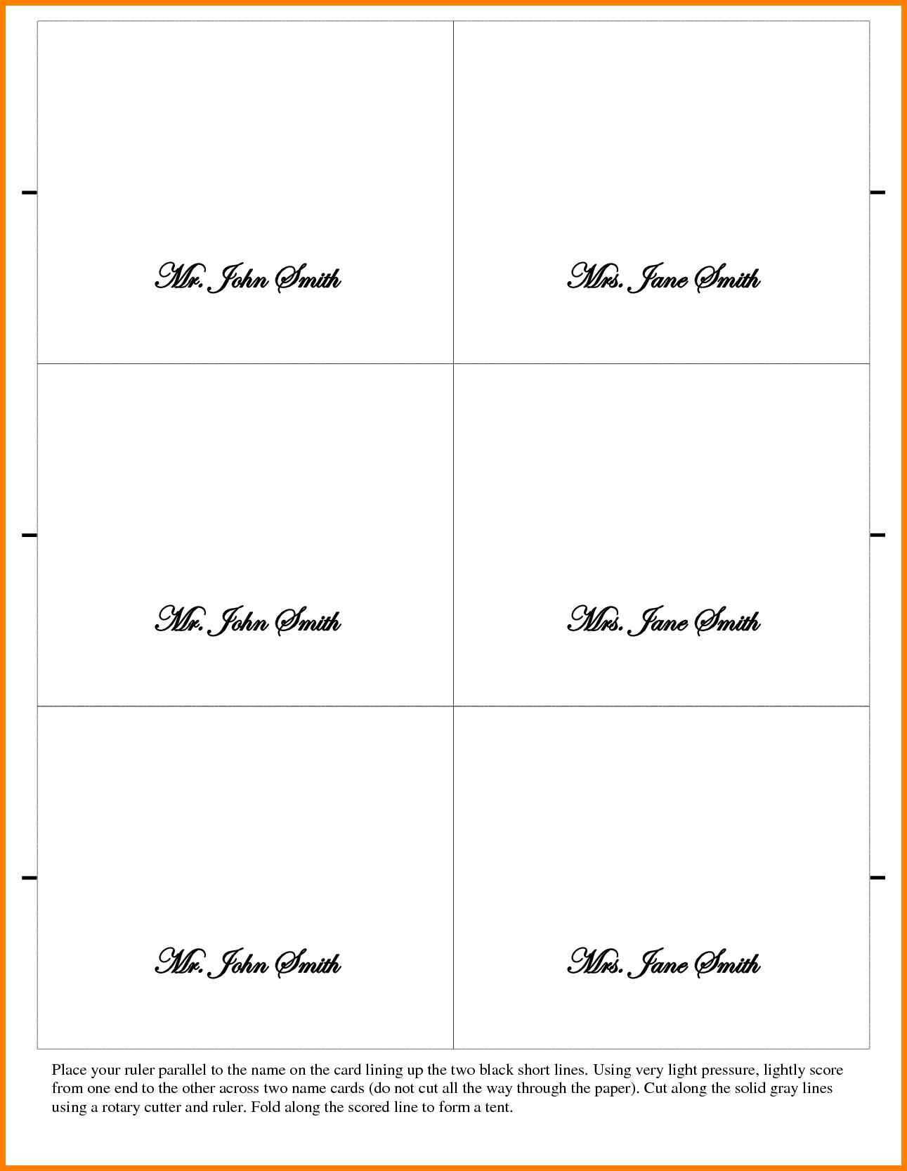 026 Place Cards Template Word Ideas Table Card Tent New For Tent Name Card Template Word
