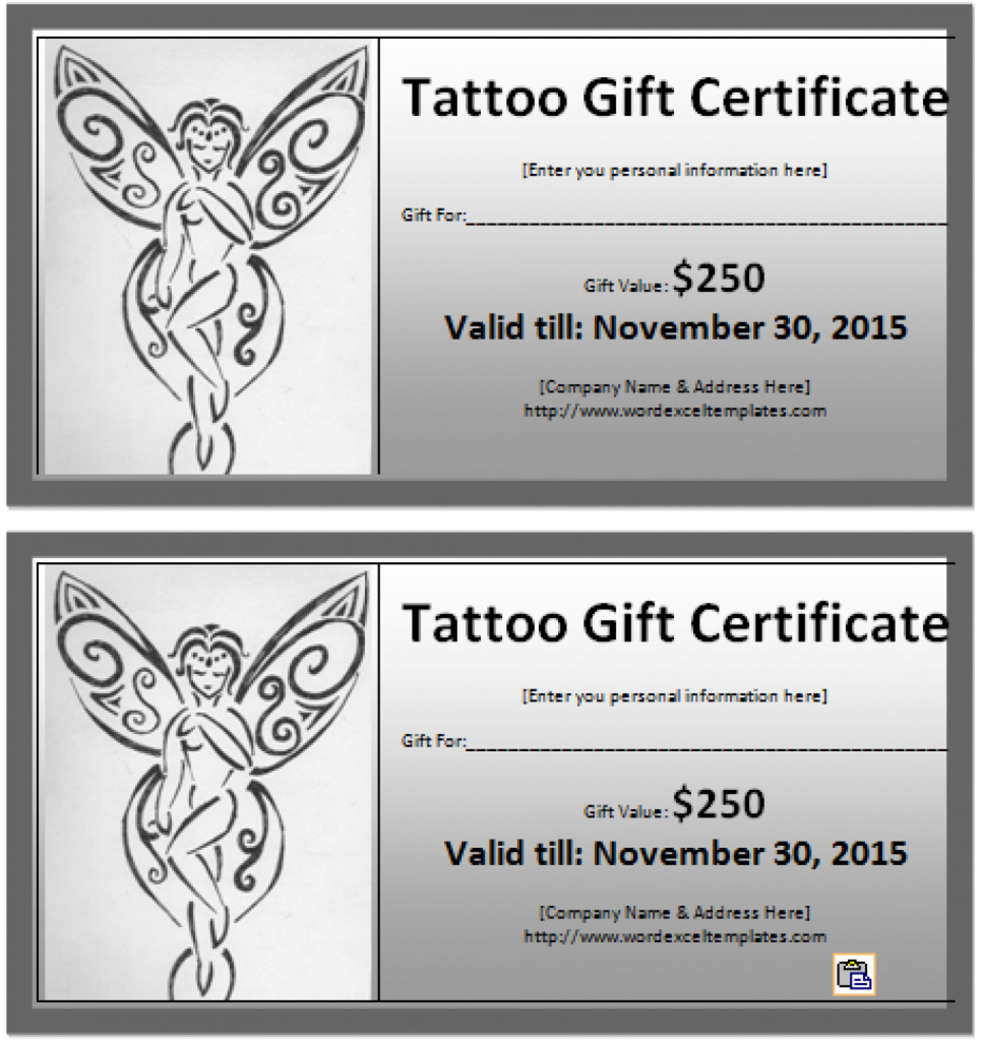 031 Free Printable Gift Certificates Restaurant Ideas Model In Tattoo Gift Certificate Template