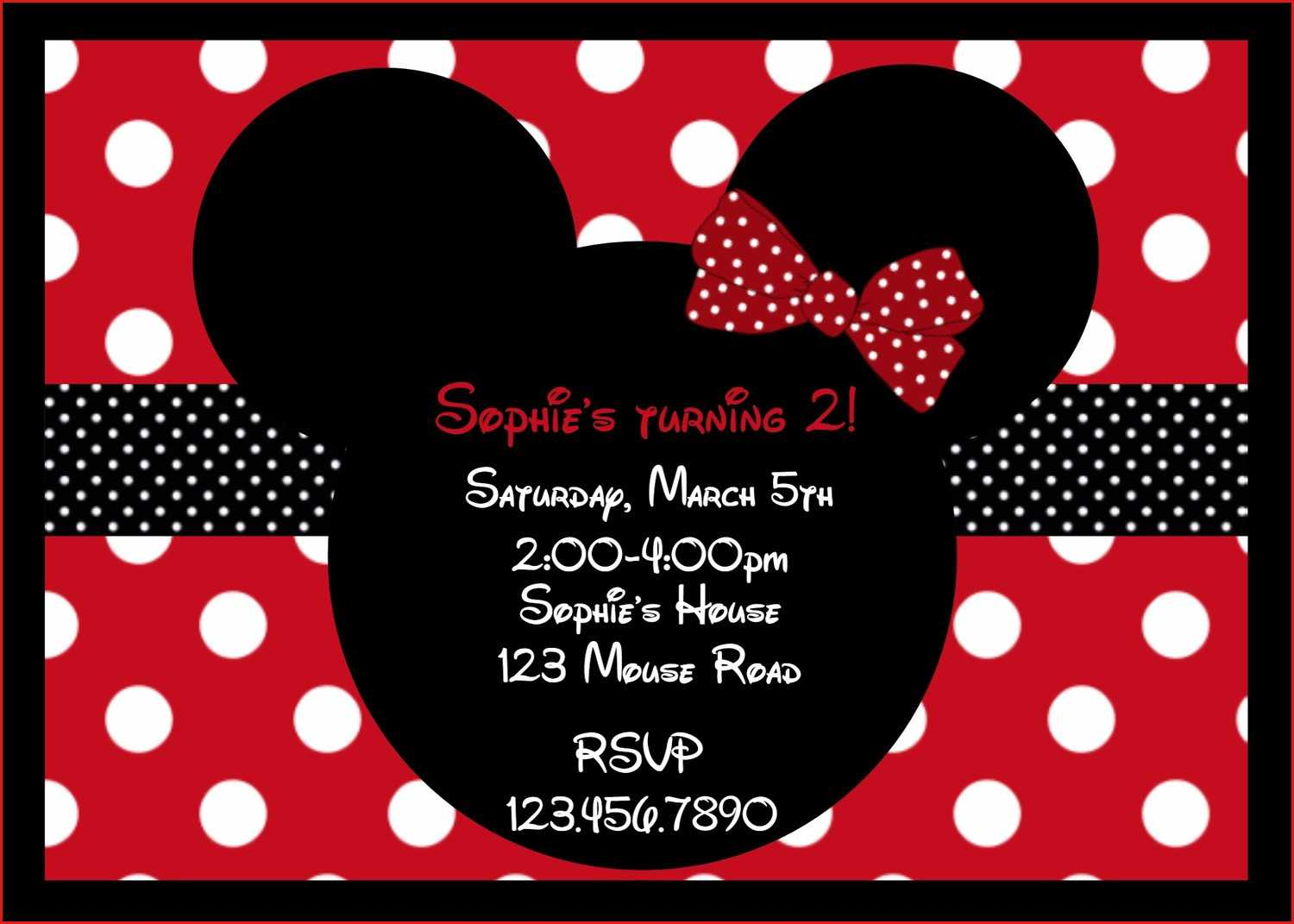 033 Printable Birthdays Girls Mouse Party Minnie Card Pertaining To Minnie Mouse Card Templates