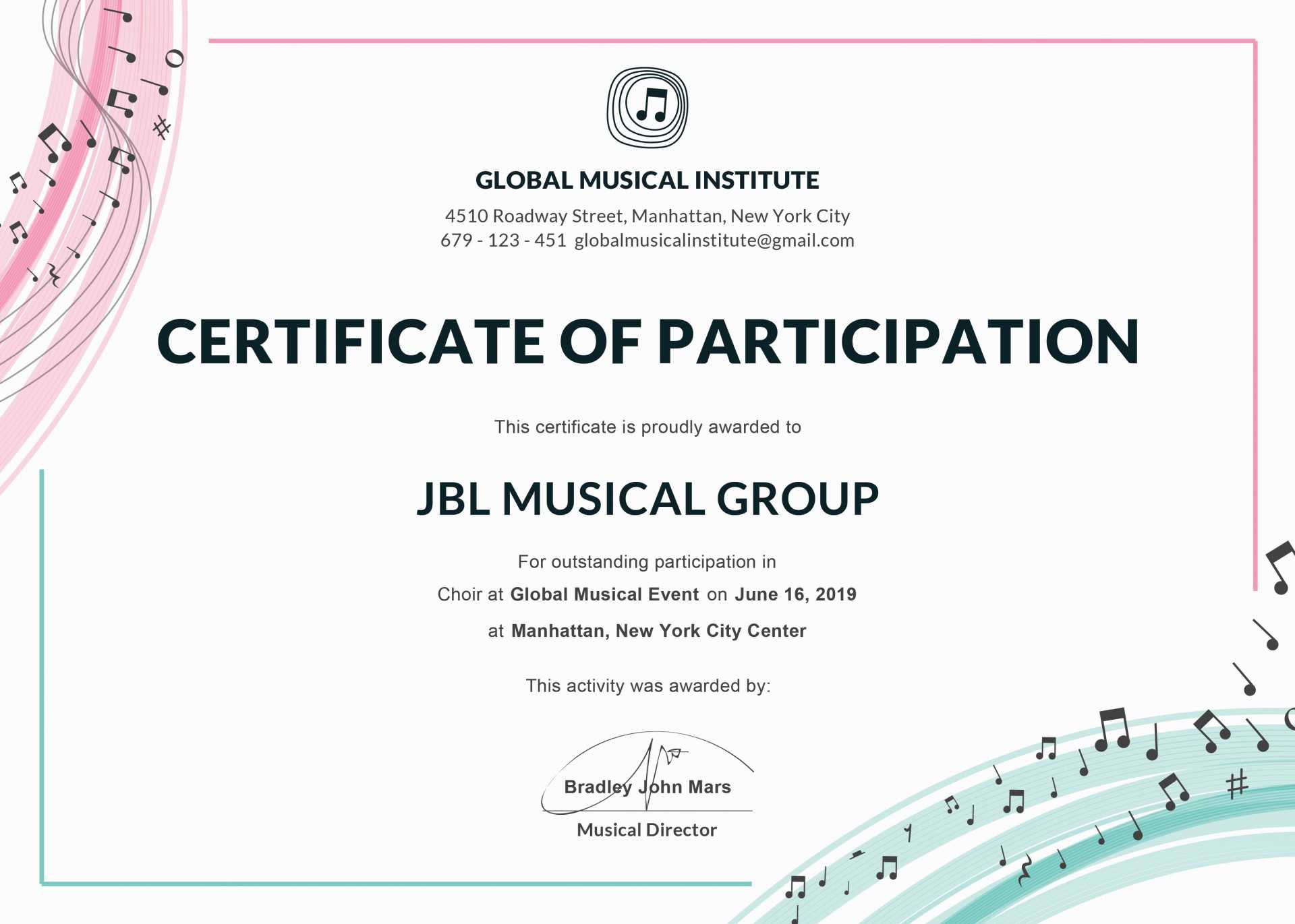 033 Template Ideas Certificate Of Achievement Word Doc With Regard To Choir Certificate Template