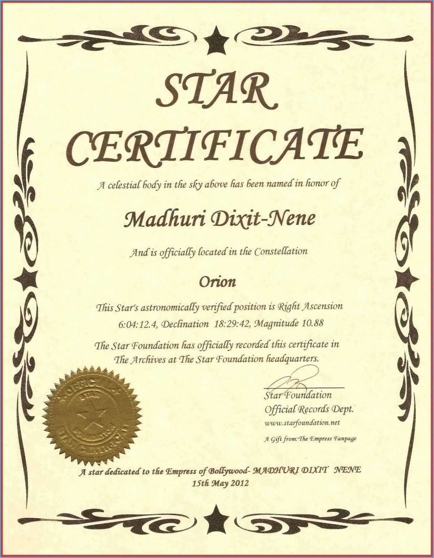 033 Template Ideas Free Printable Certificate Templates Throughout Star Naming Certificate Template