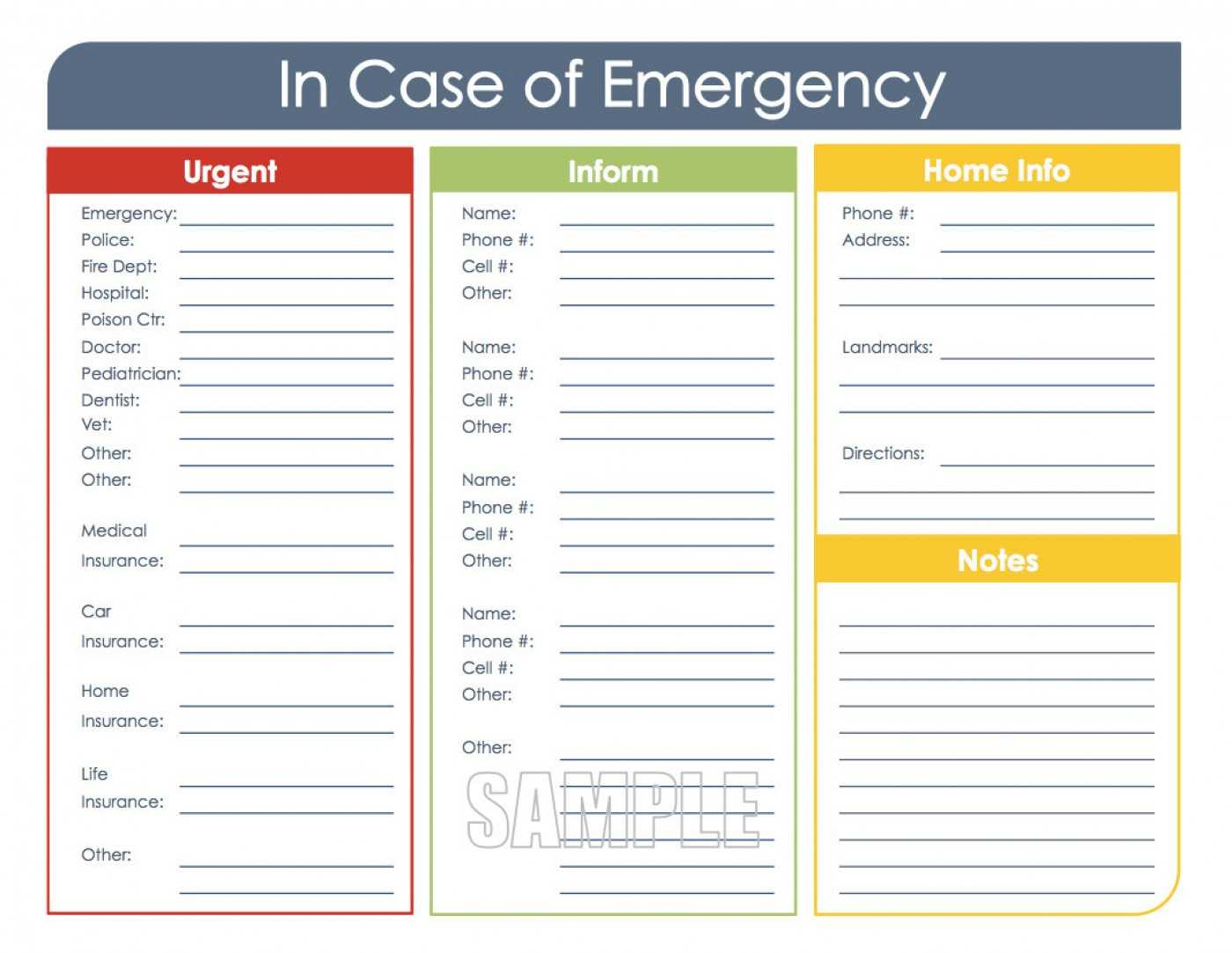 036 Emergency Contact Card Template In In Case Of Emergency Card Template