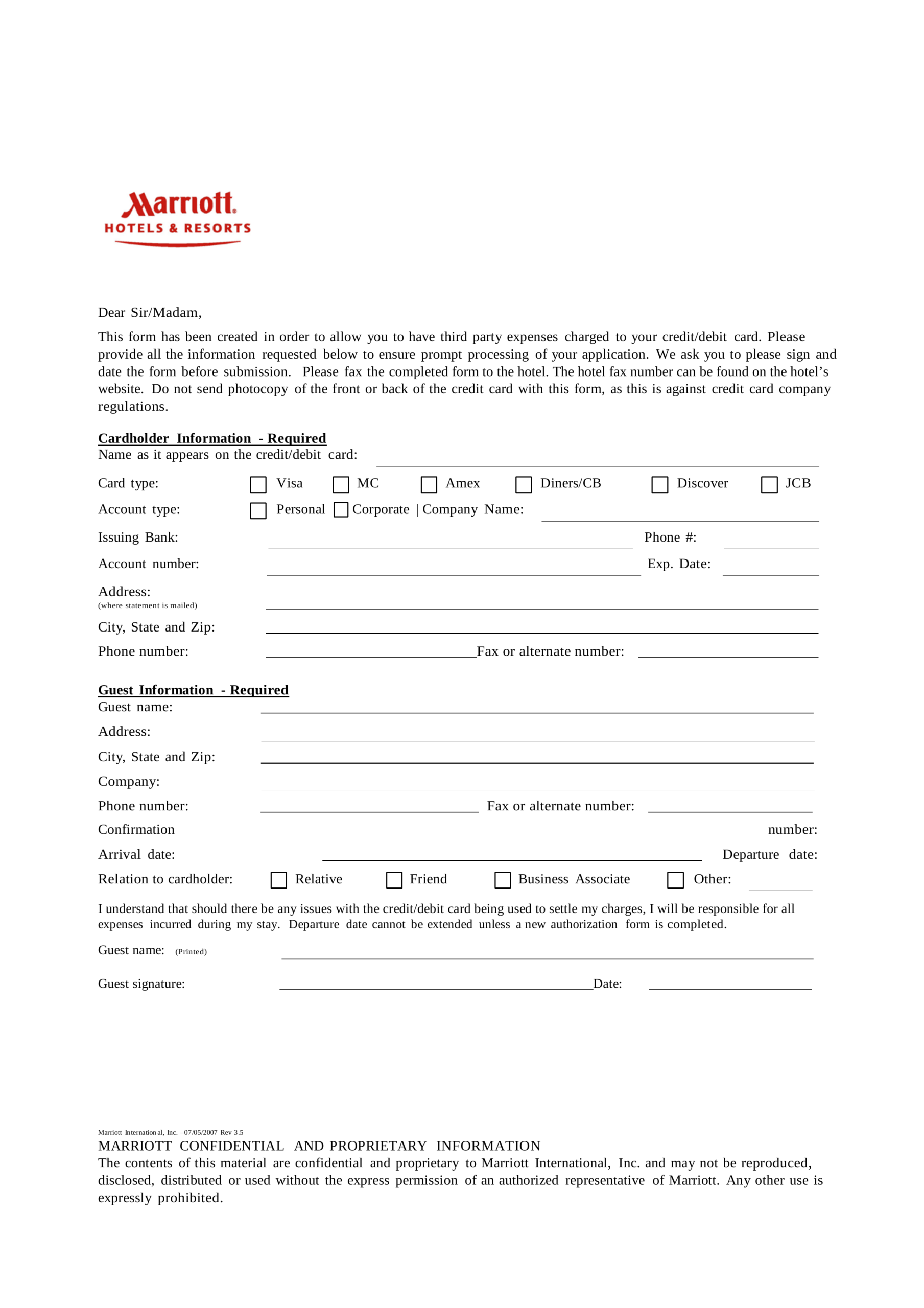 037 Hotel Credit Card Authorization Form Template Word In Hotel Credit Card Authorization Form Template