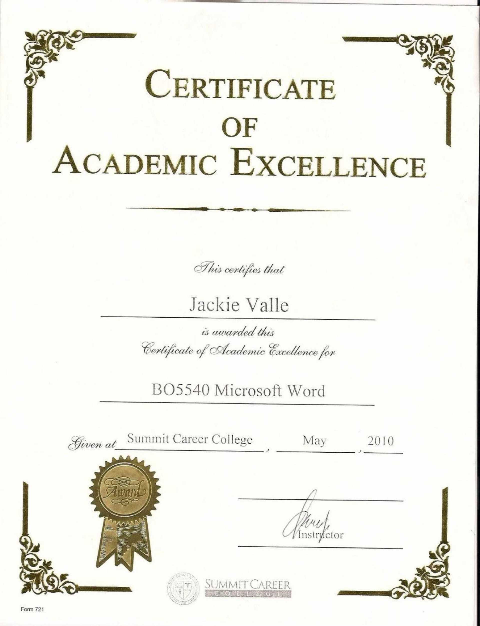 038 Award Certificate Template Word Free Printable Editable Inside Academic Award Certificate Template