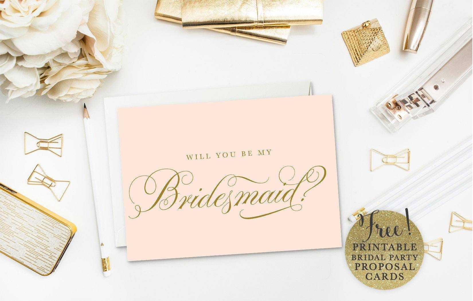 10 Will You Be My Bridesmaid? Cards (Free & Printable) Pertaining To Will You Be My Bridesmaid Card Template
