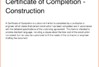 12+ Printable Certificate Of Completion   Survey Template Words in Certificate Of Completion Construction Templates