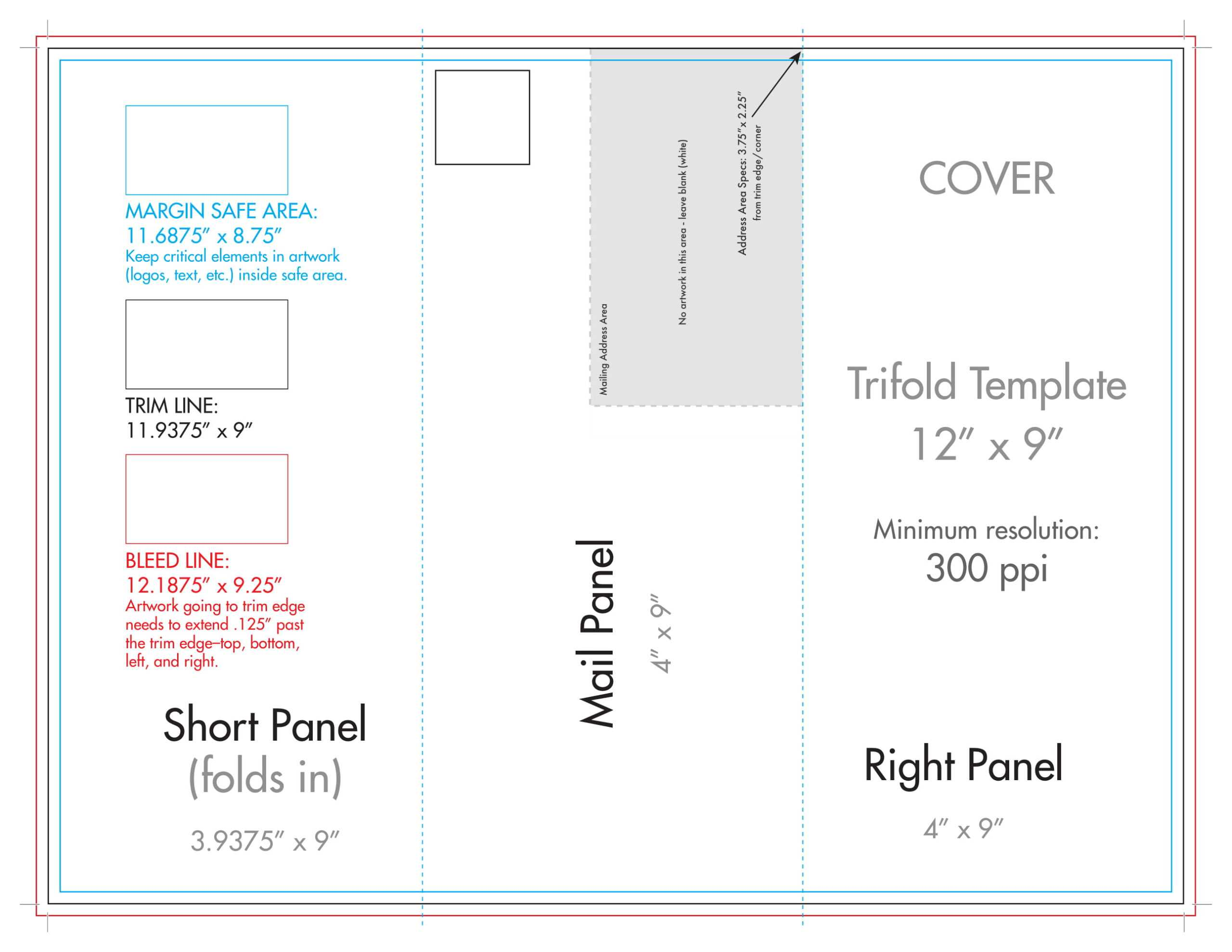 "12"" X 9"" Rack Brochure Template (Tri Fold) – U.s. Press Intended For 12 Page Brochure Template"
