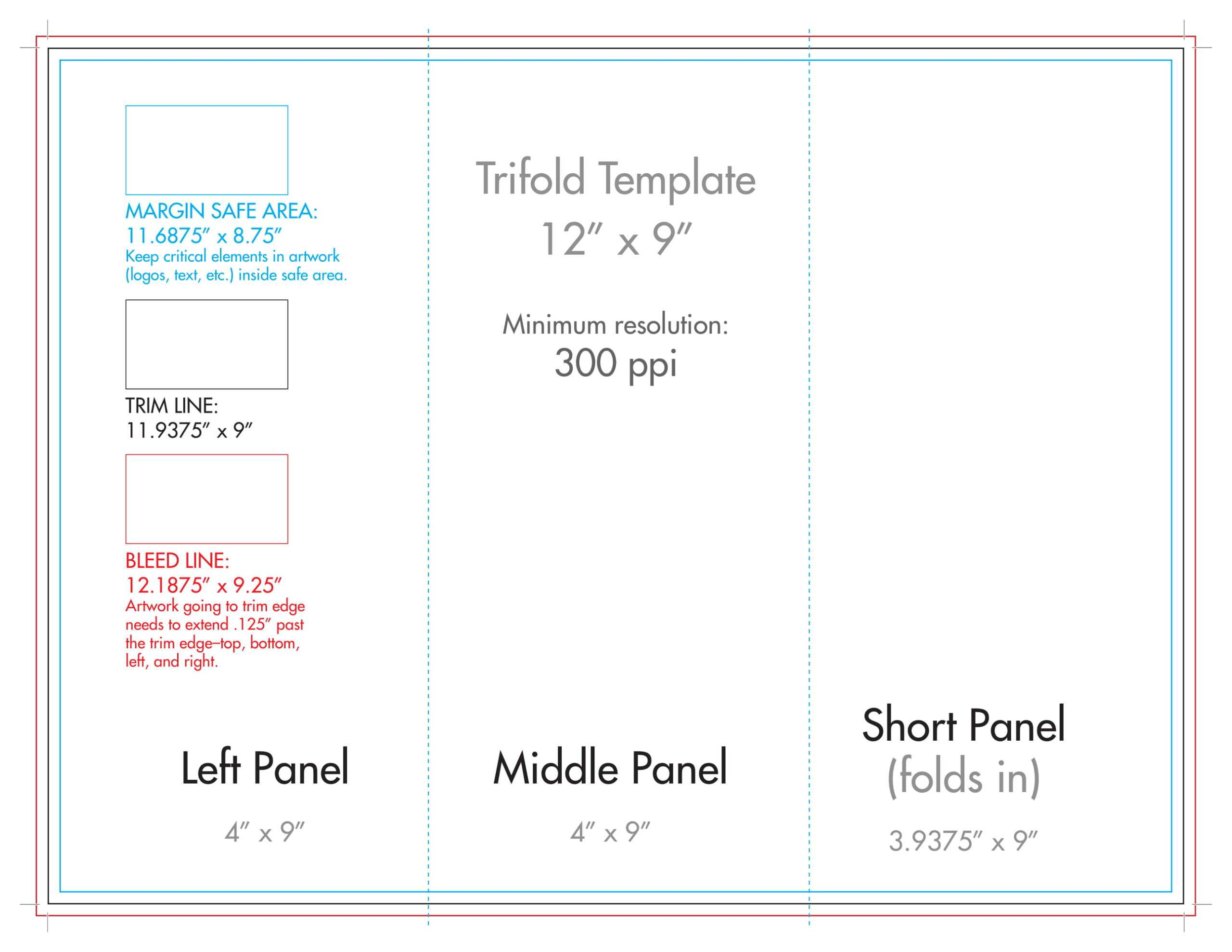 "12"" X 9"" Rack Brochure Template (Tri Fold) - U.s. Press Regarding Brochure Folding Templates"