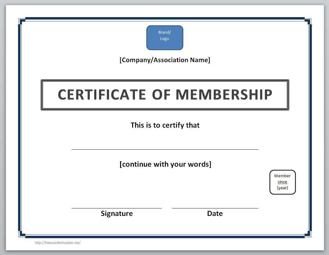 13 Free Certificate Templates For Word » Officetemplate In New Member Certificate Template