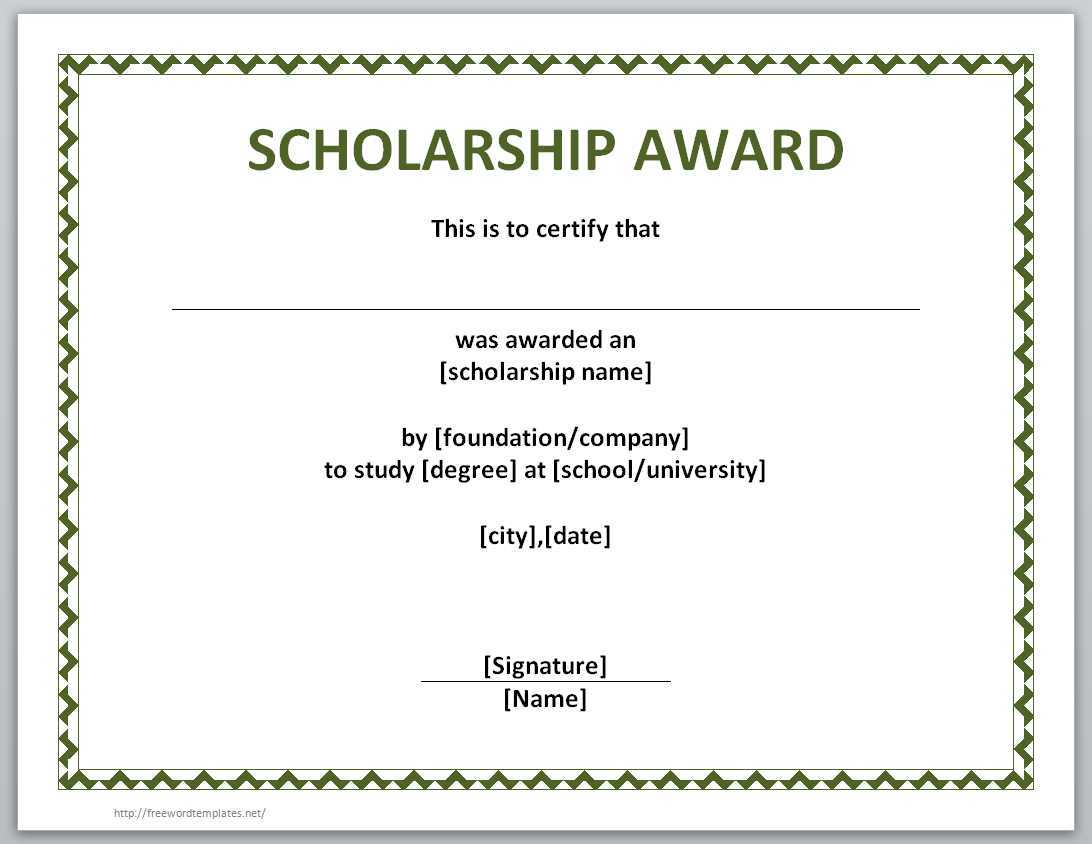 13 Free Certificate Templates For Word » Officetemplate Within Scholarship Certificate Template