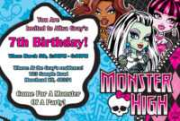 14 Best Photos Of Monster High Birthday Invitations intended for Monster High Birthday Card Template