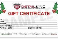 16 Personalized Auto Detailing Gift Certificate Templates with regard to Automotive Gift Certificate Template