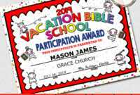 """2019 Vbs Certificate, Vacation Bible School, Instant Download – 8.5X11""""  Word And Jpg with Vbs Certificate Template"""