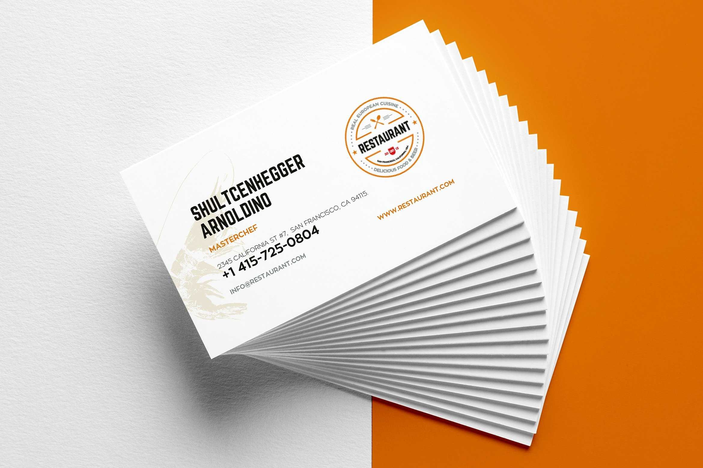 29+ Creative Restaurant Business Card Templates - Ai, Apple Inside Front And Back Business Card Template Word