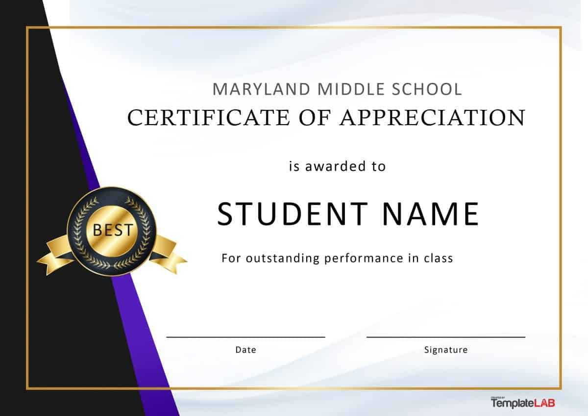 30 Free Certificate Of Appreciation Templates And Letters Intended For Best Performance Certificate Template