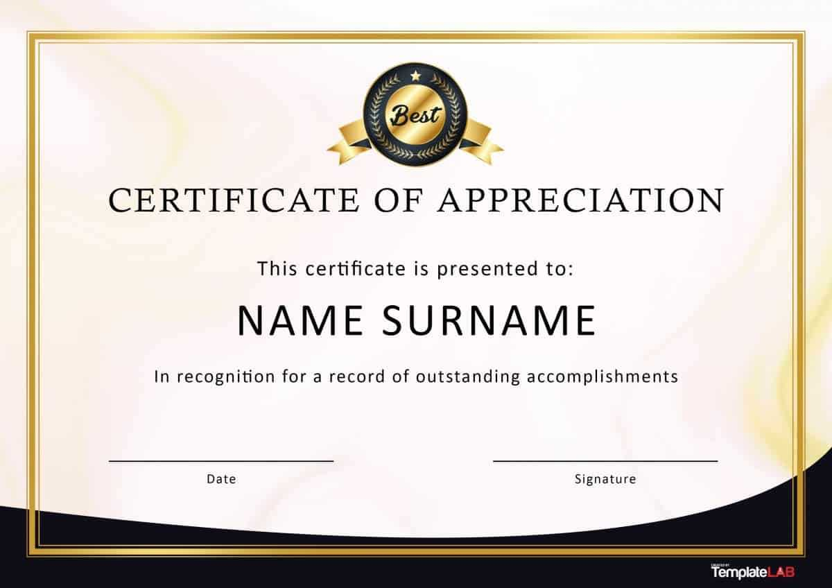 30 Free Certificate Of Appreciation Templates And Letters Regarding Free Template For Certificate Of Recognition