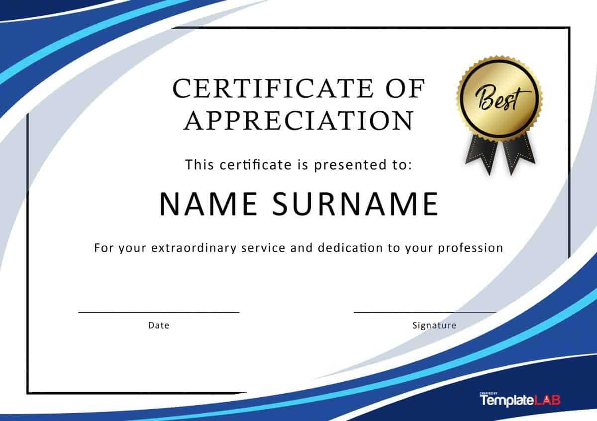 30 Free Certificate Of Appreciation Templates And Letters With Regard To Template For Recognition Certificate