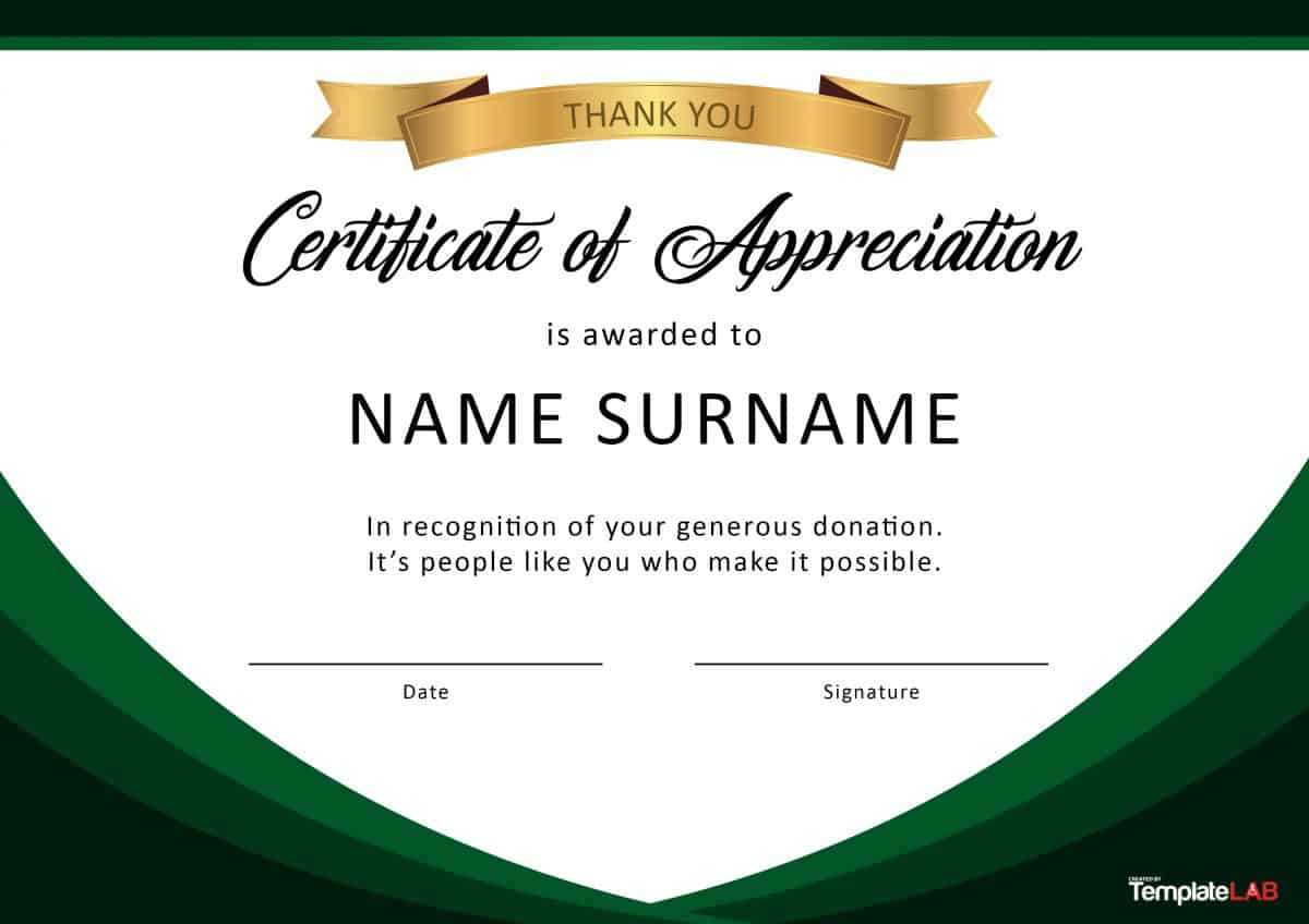 30 Free Certificate Of Appreciation Templates And Letters With Regard To Volunteer Certificate Templates